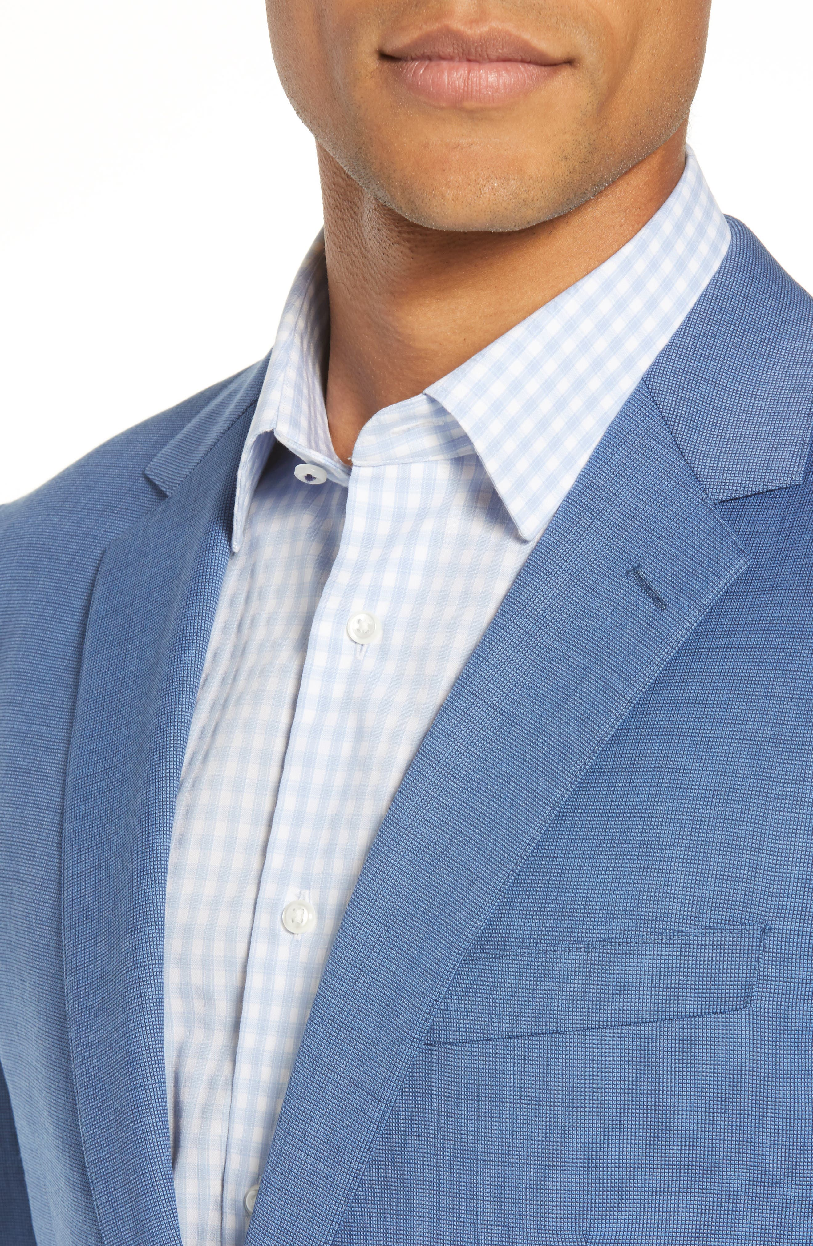 Jetsetter Trim Fit Stretch Solid Wool Suit Jacket,                             Alternate thumbnail 4, color,                             BRIGHTER BLUE