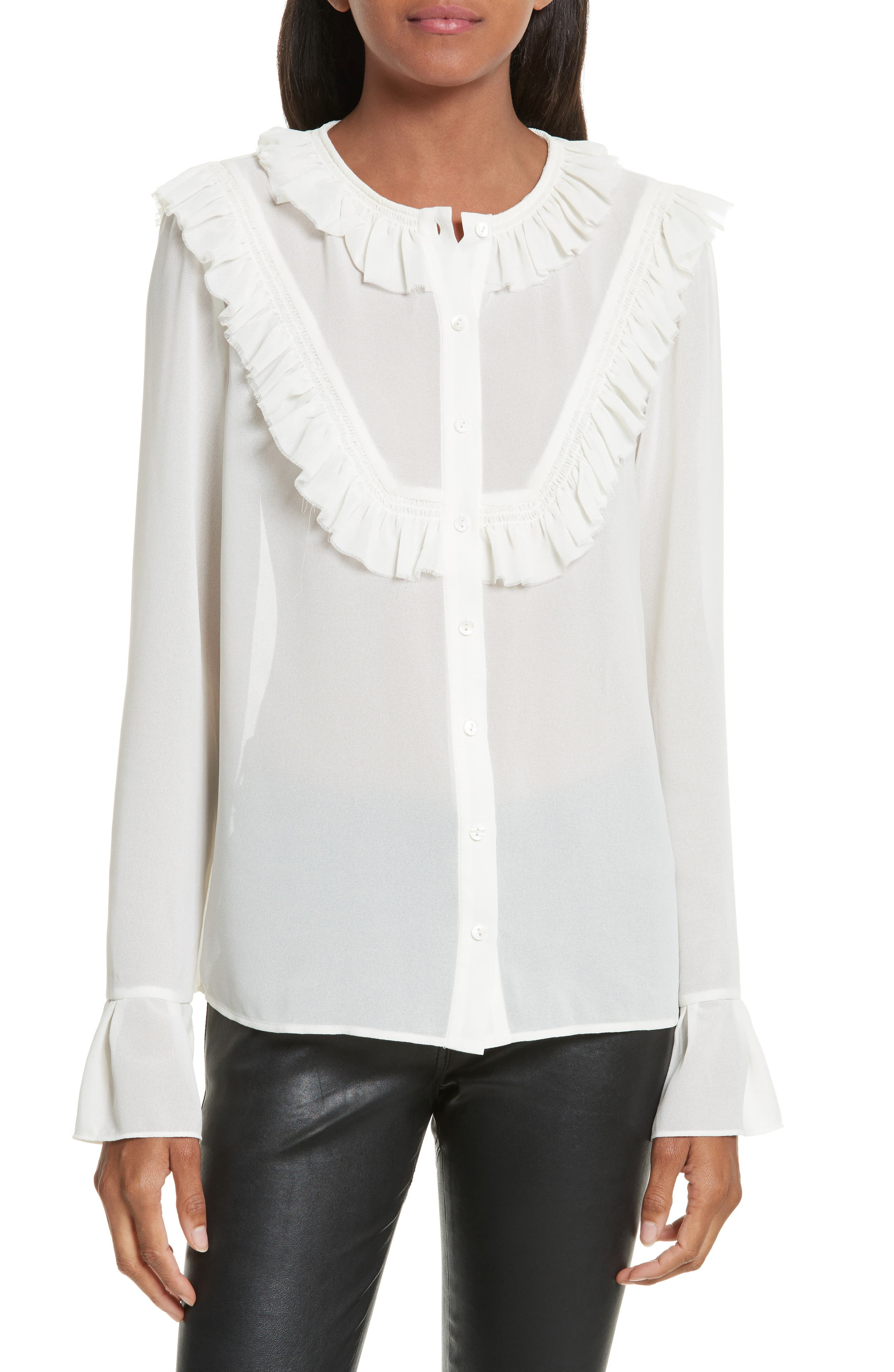 Pleated Ruffle Shirt,                             Main thumbnail 1, color,                             900