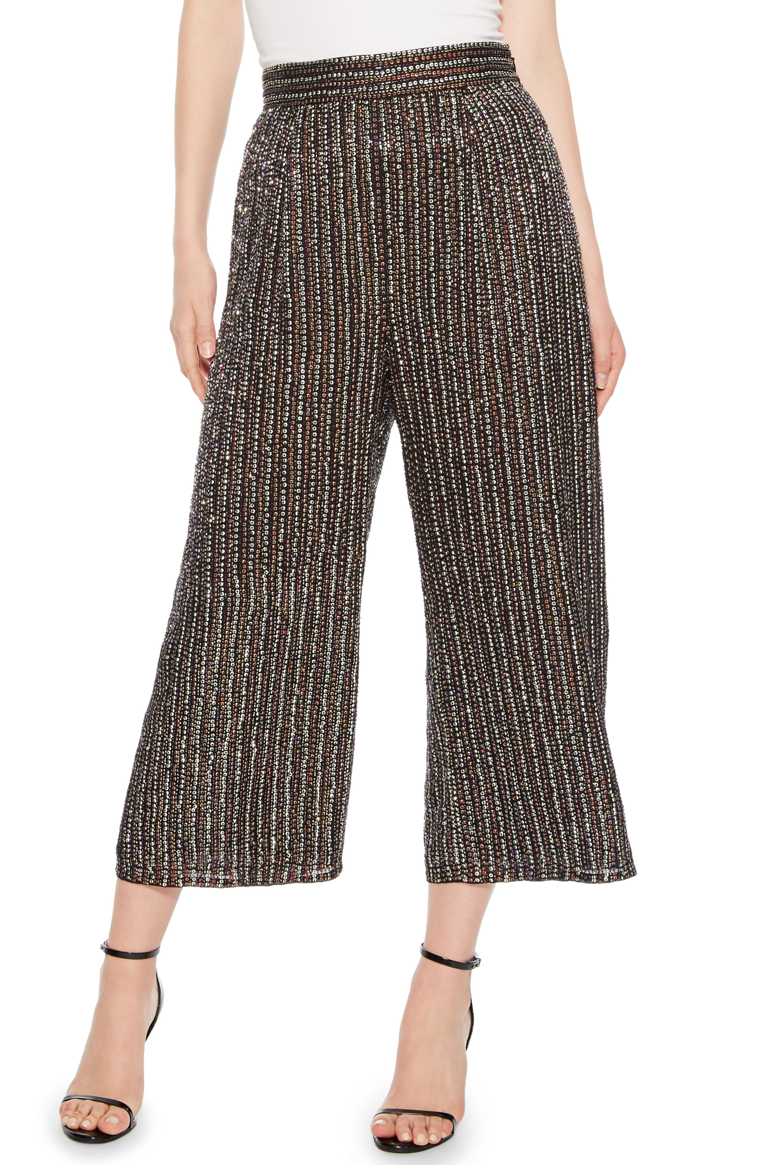 Ellen Wide Leg Crop Pants,                             Main thumbnail 1, color,                             BLACK MULTI