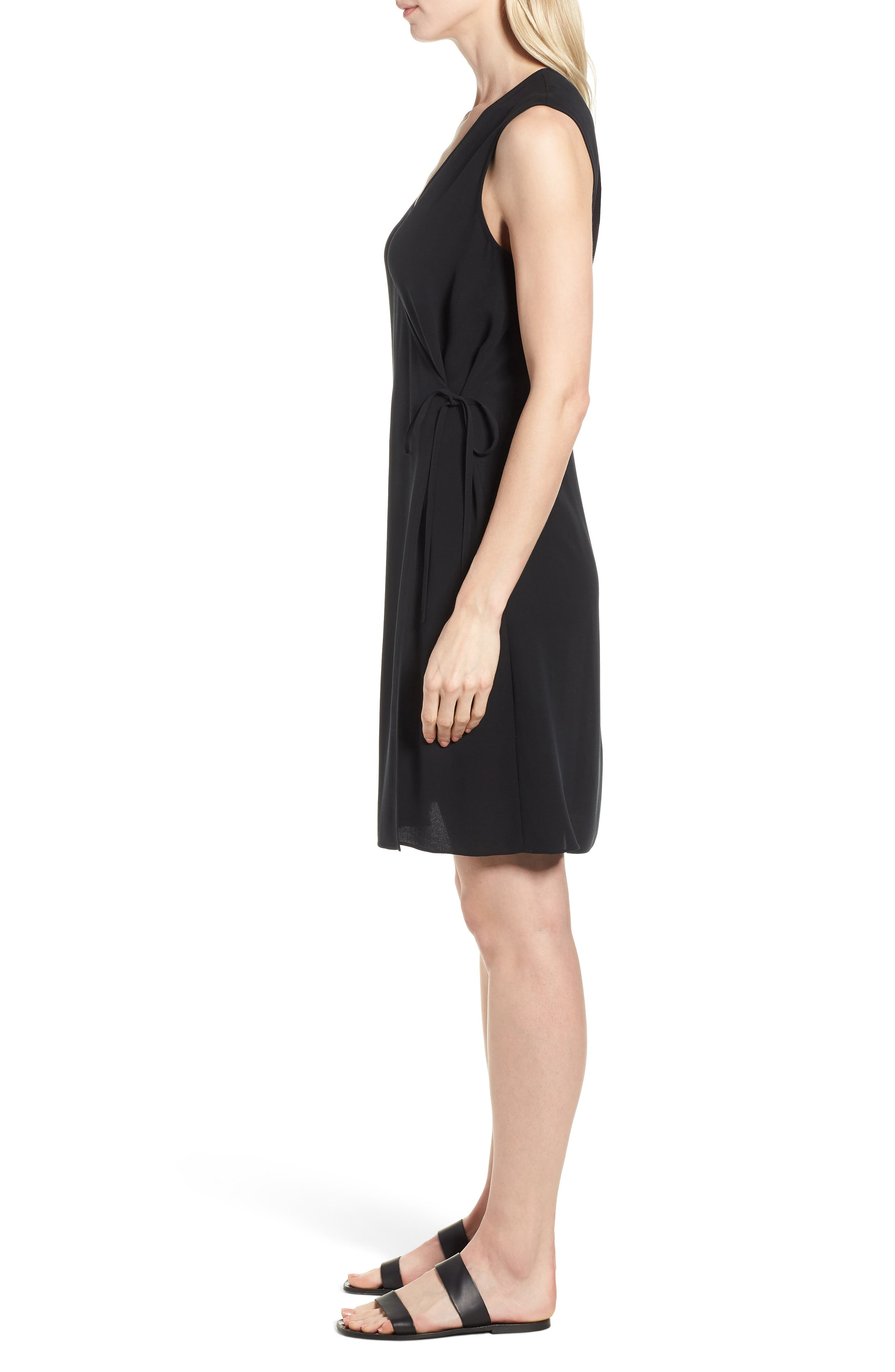 EILEEN FISHER,                             Silk Wrap Dress,                             Alternate thumbnail 3, color,                             001