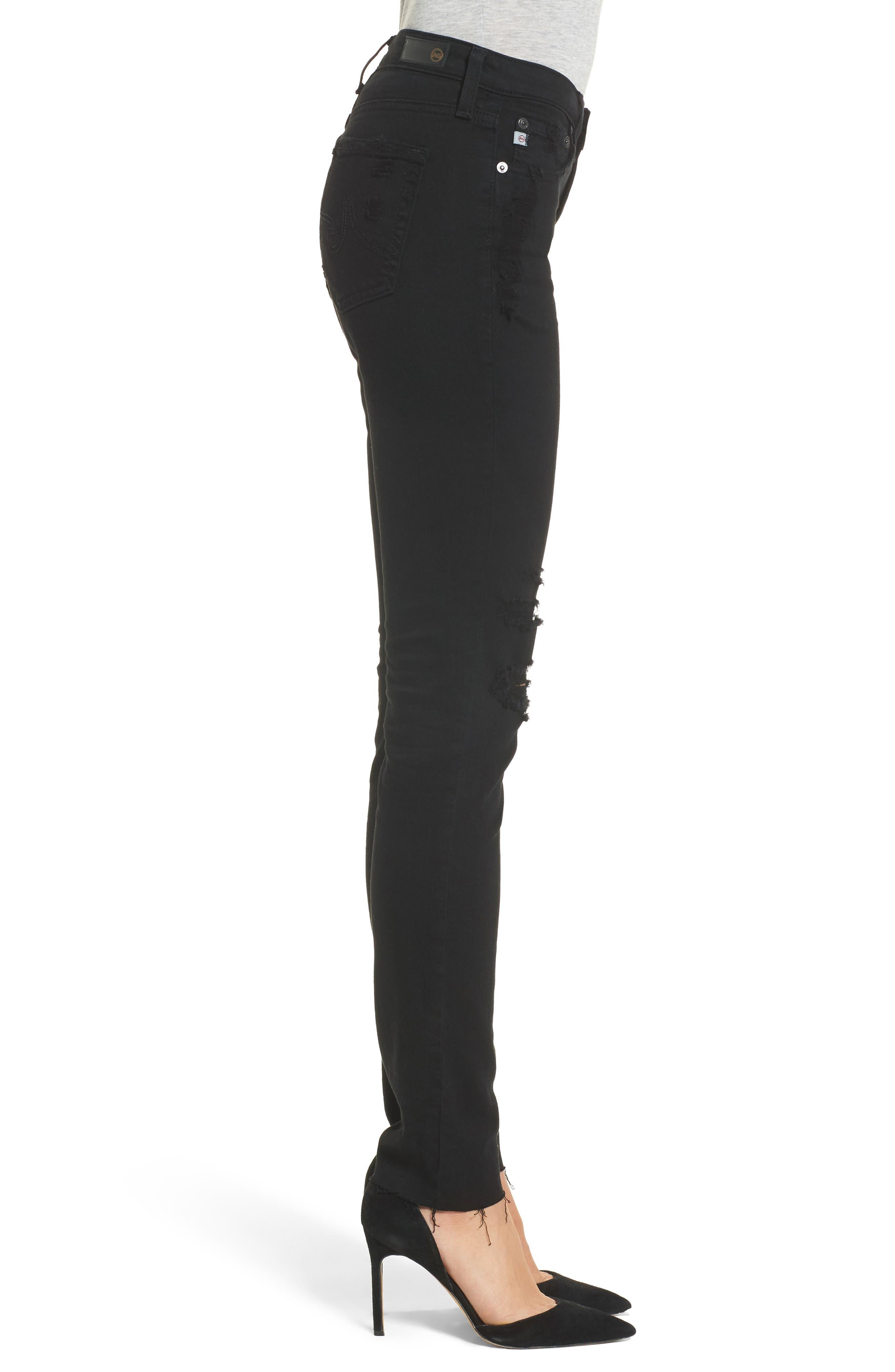 Prima Mid Rise Cigarette Jeans,                             Alternate thumbnail 3, color,                             5 YEARS BLACK DESTRUCTED