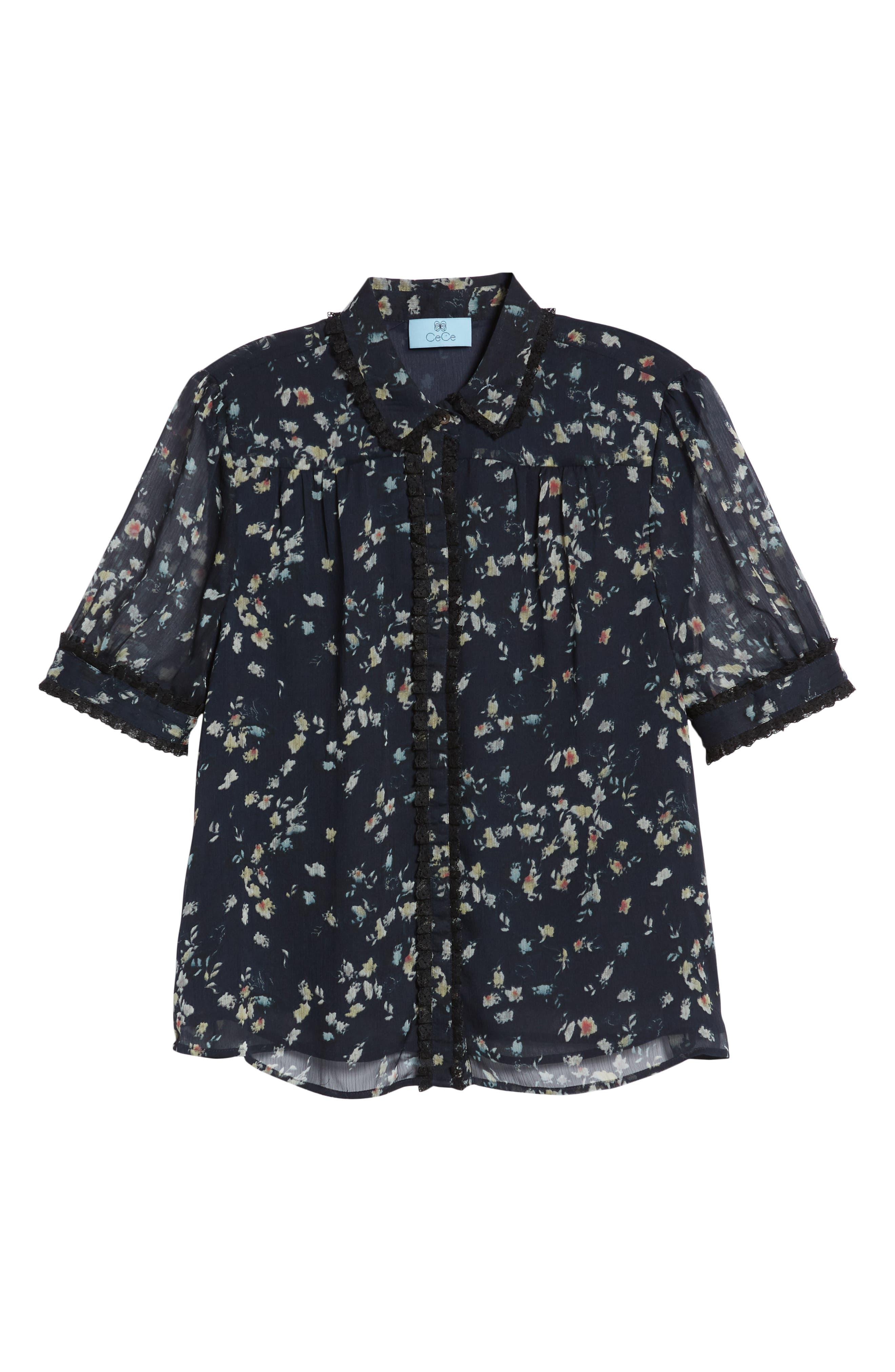 Floral Print Ruffle Trim Shirt,                             Alternate thumbnail 7, color,                             008