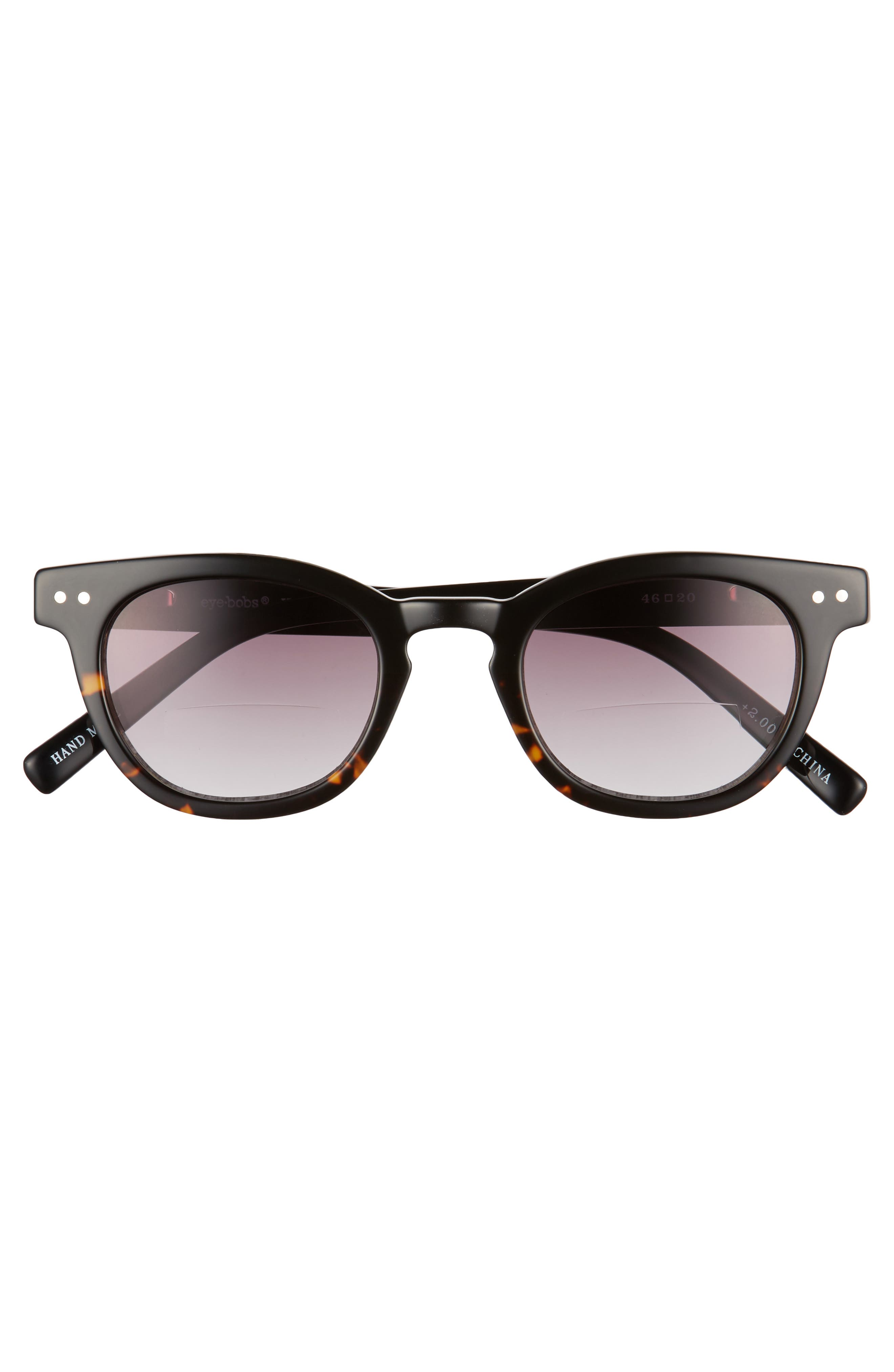 Laid 46mm Reading Sunglasses,                             Alternate thumbnail 2, color,                             TORTOISE WITH BLACK