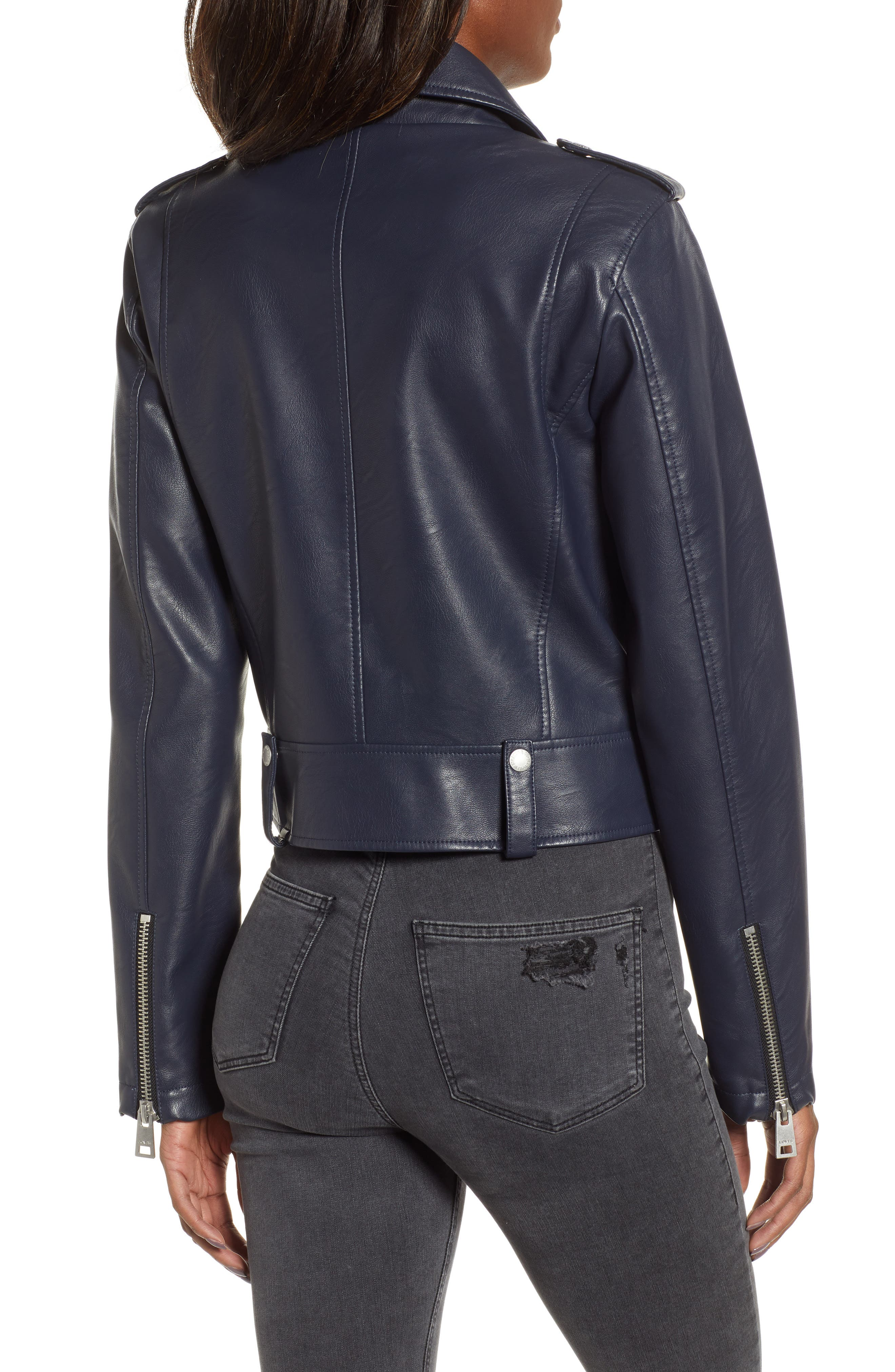 Faux Leather Moto Jacket,                             Alternate thumbnail 2, color,                             NAVY