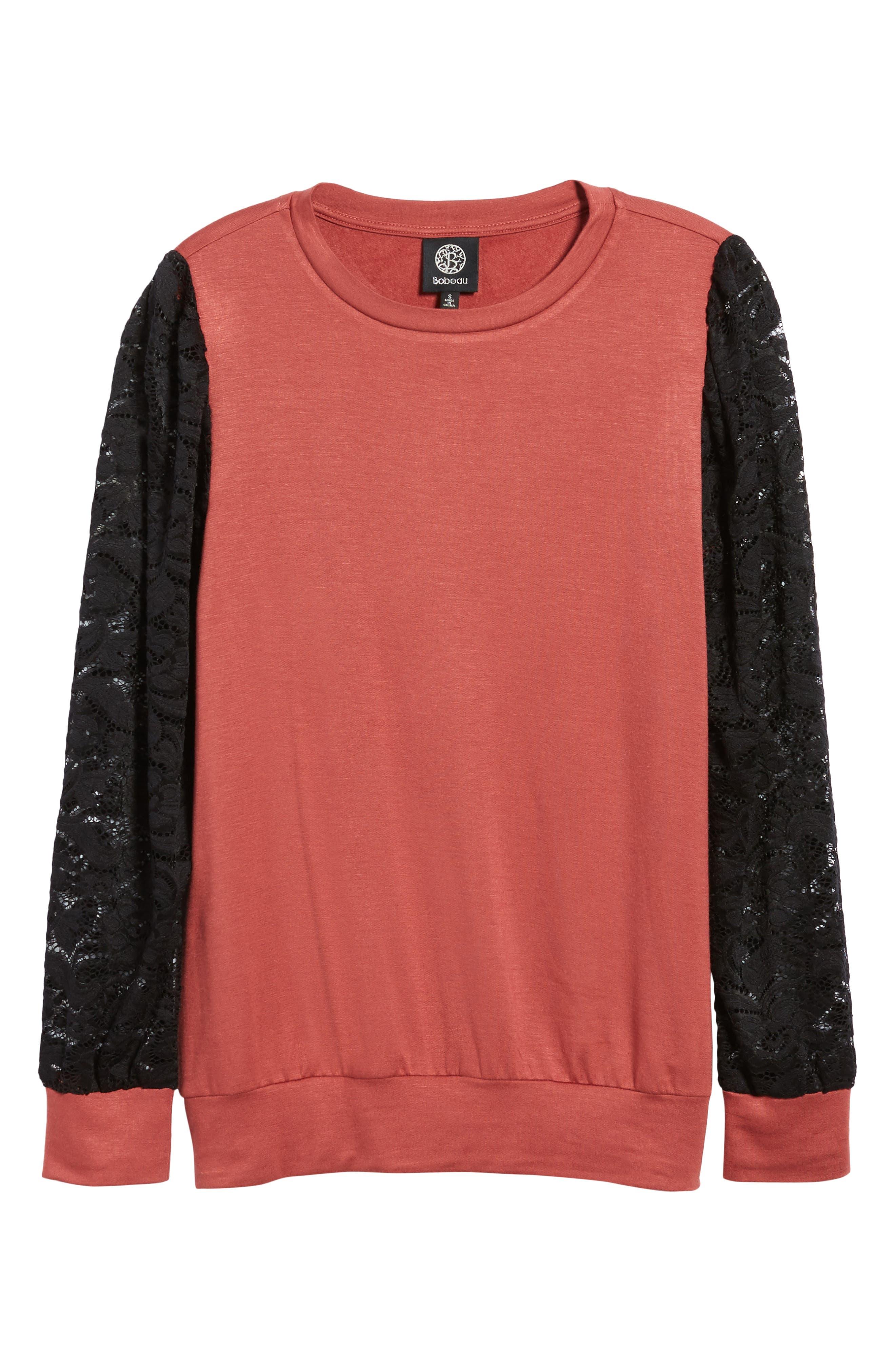 Lace Sleeve Sweatshirt,                             Alternate thumbnail 24, color,