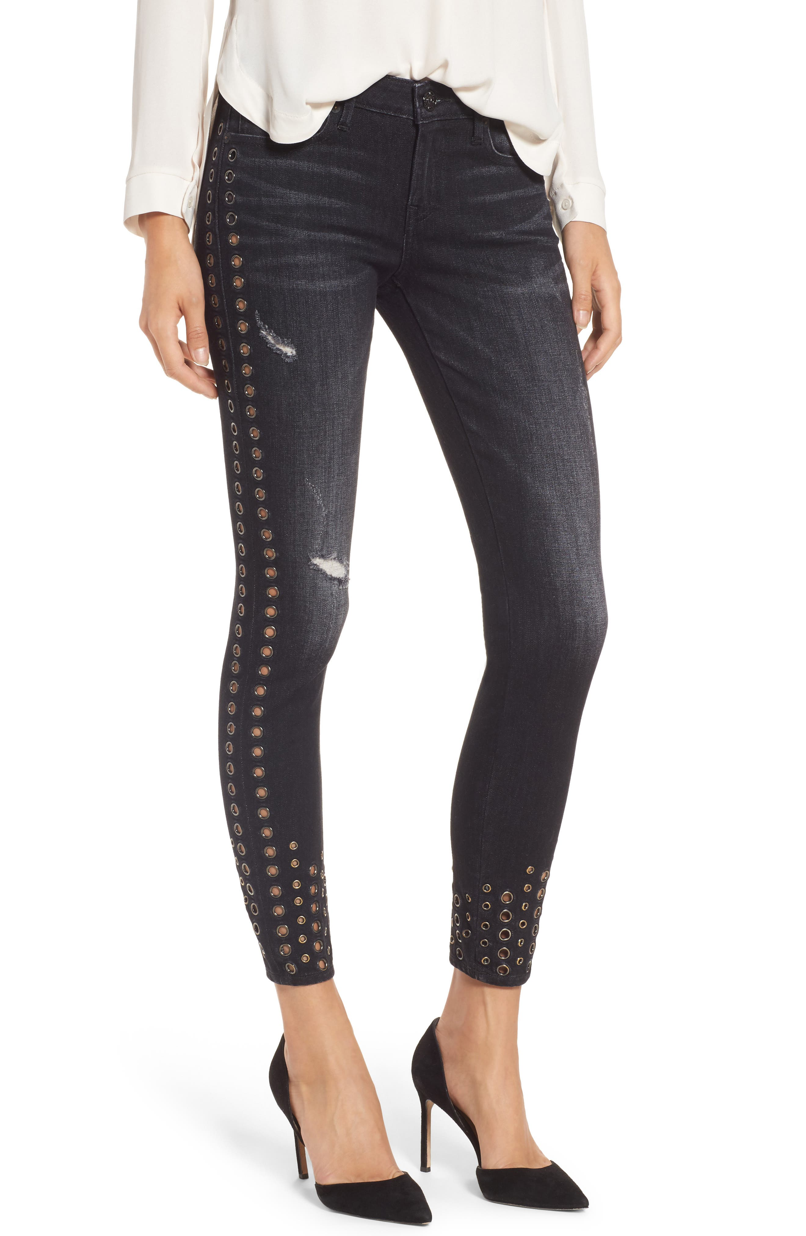 Halle Ankle Super Skinny Jeans,                             Main thumbnail 1, color,                             001