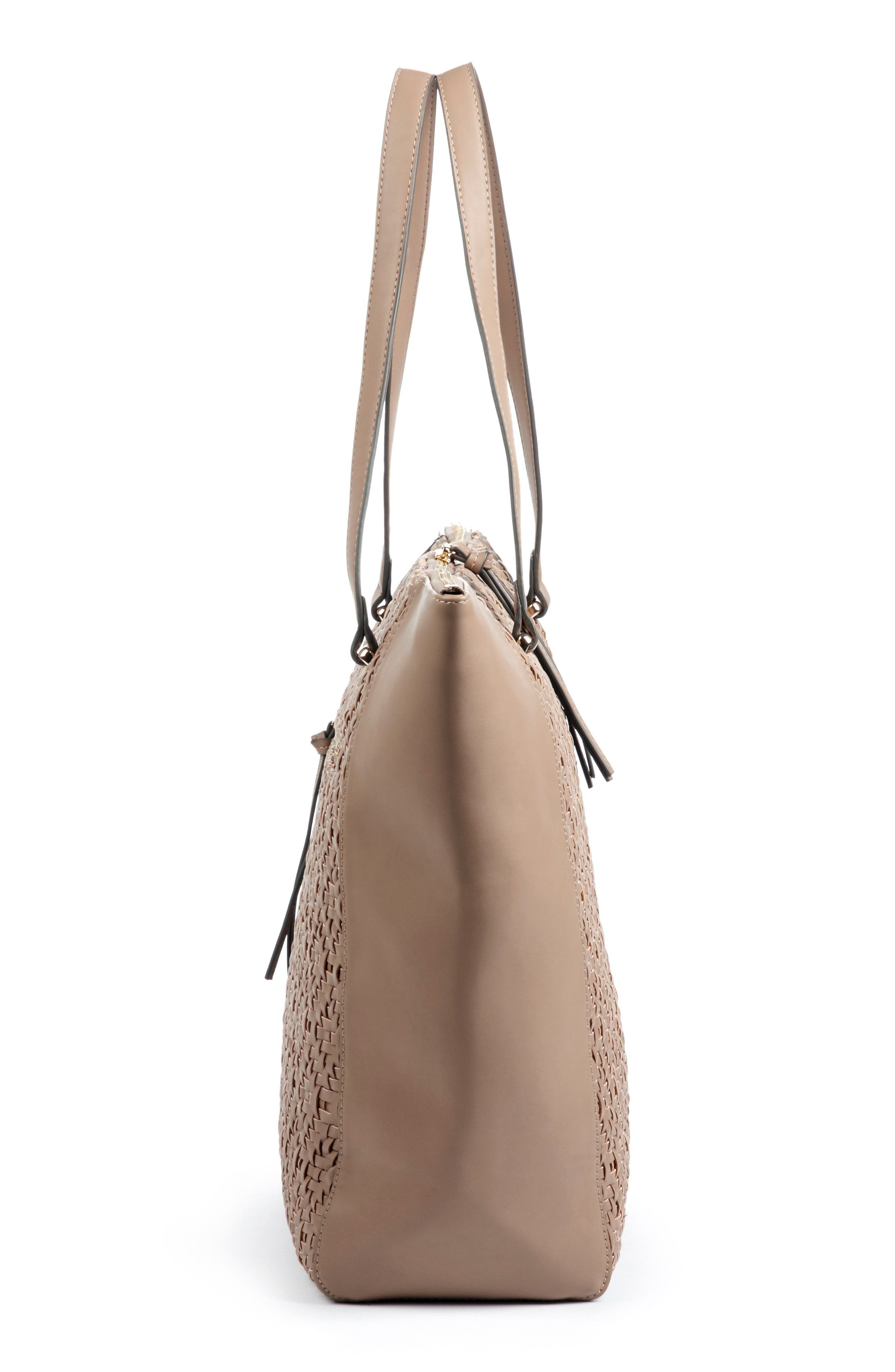 Woven Faux Leather Tote,                             Alternate thumbnail 8, color,
