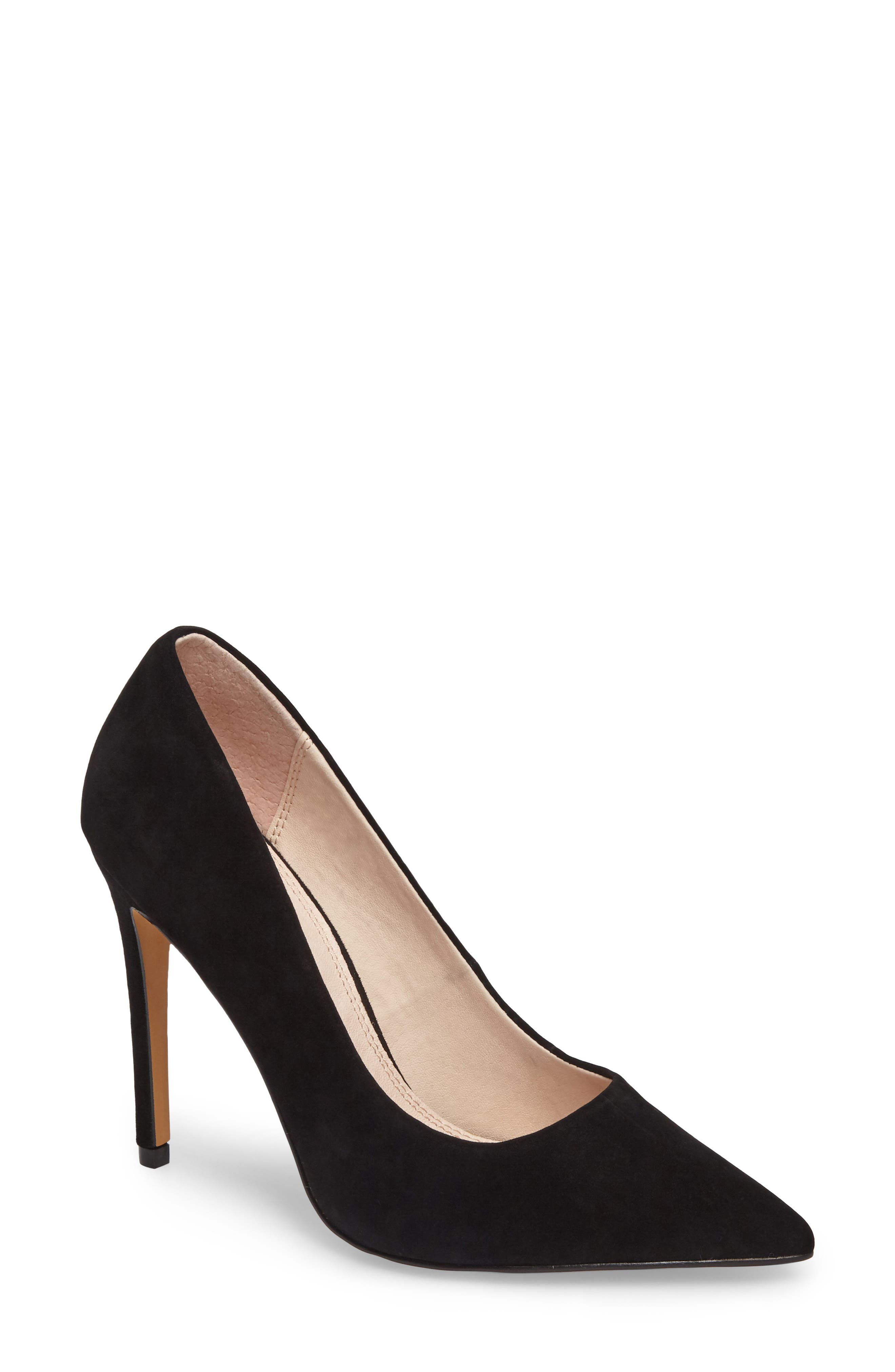 Grammer Pointy Toe Pump,                             Main thumbnail 1, color,                             BLACK LEATHER