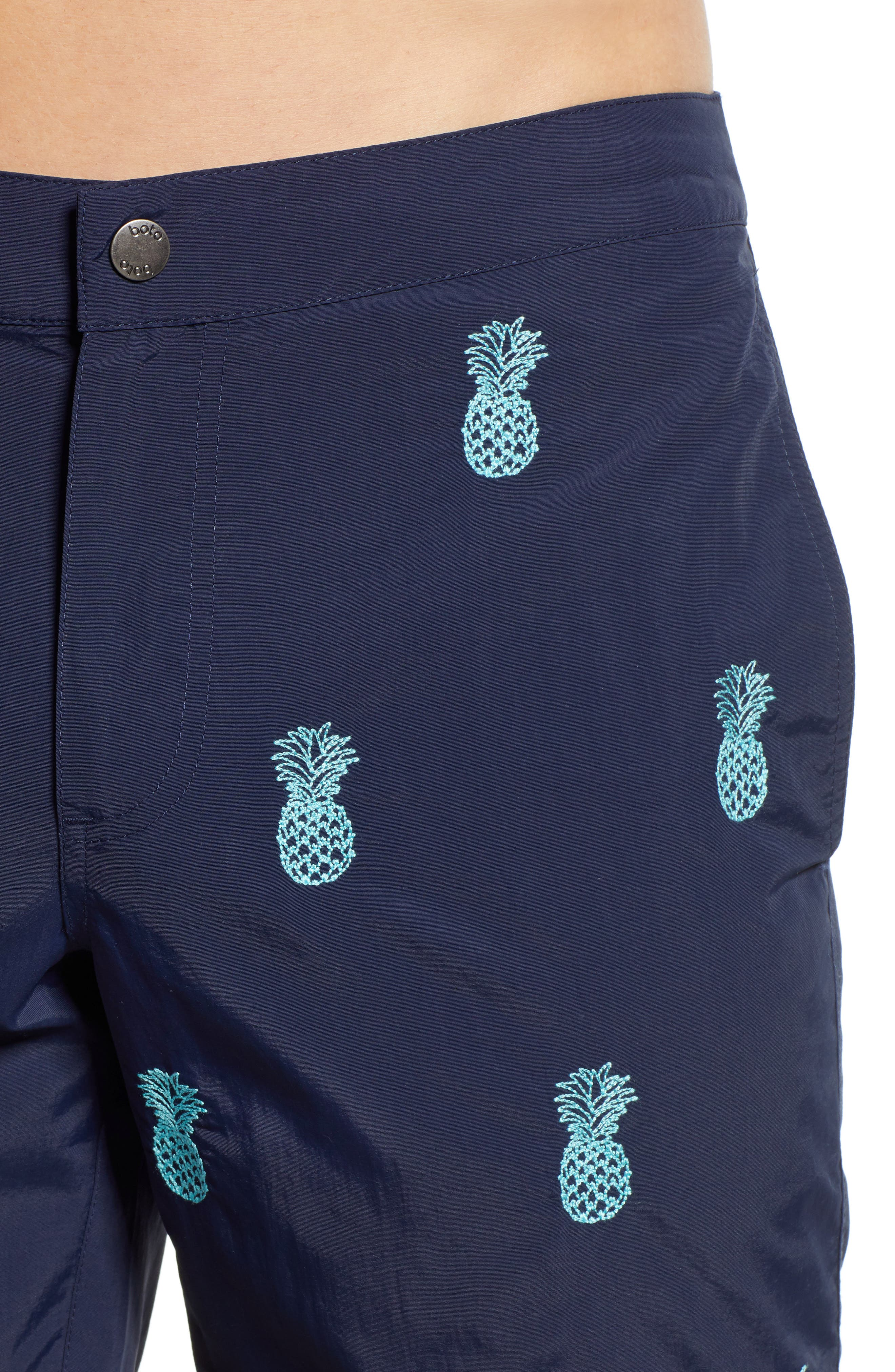 Aruba Embroidered 8.5 Inch Swim Trunks,                             Alternate thumbnail 4, color,                             NAVY EMBROIDERED PINEAPPLES