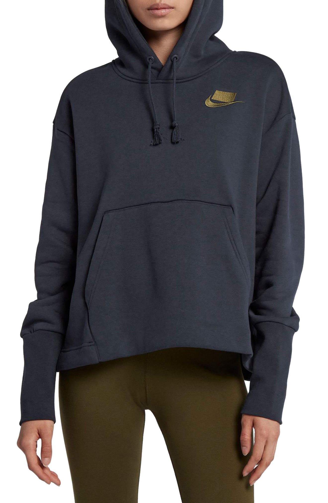NIKE,                             Sportswear NSW Women's Fleece Hoodie,                             Main thumbnail 1, color,                             DARK OBSIDIAN/ OLIVE