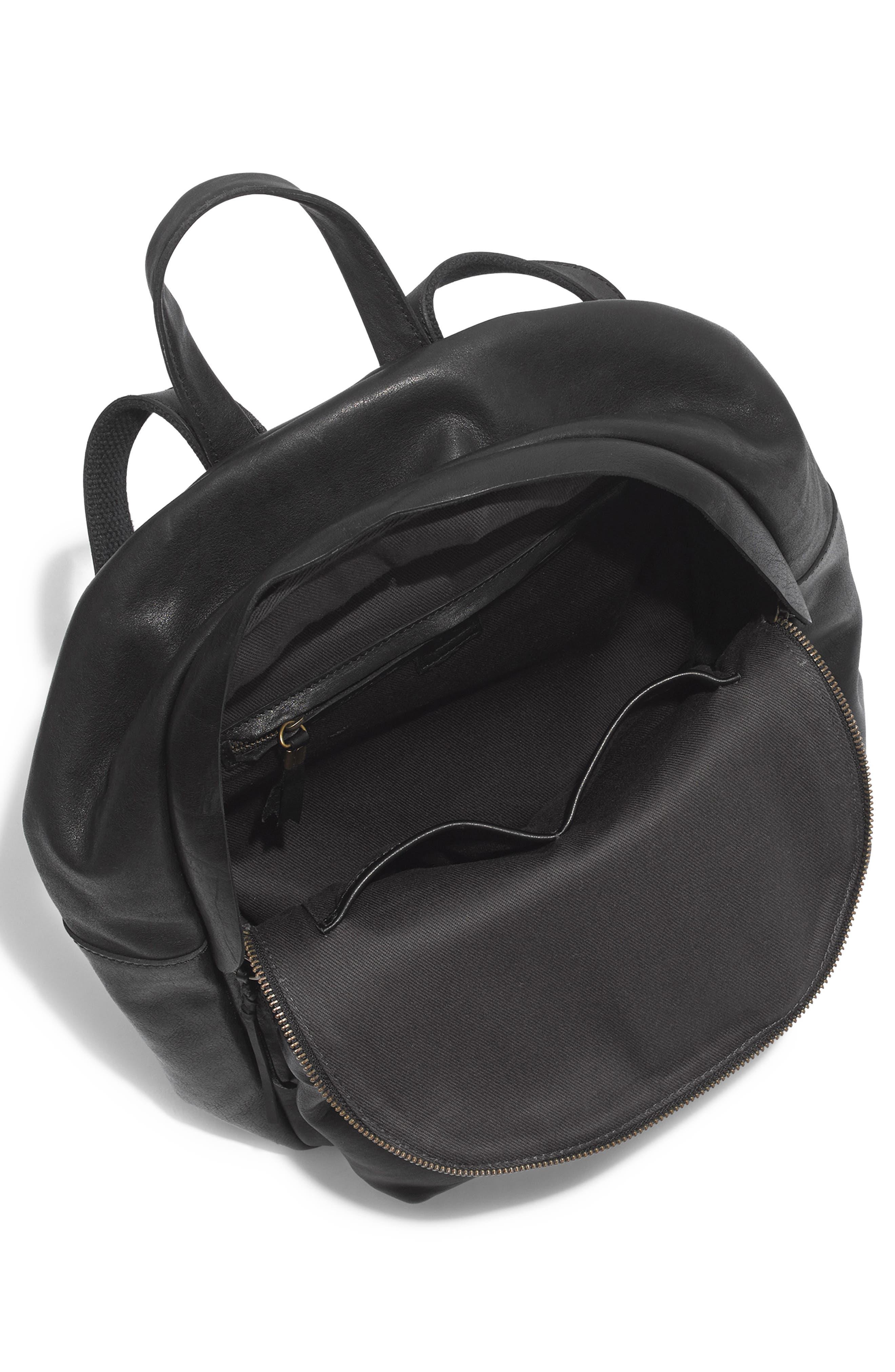 Lorimer Leather Backpack,                             Alternate thumbnail 4, color,                             TRUE BLACK