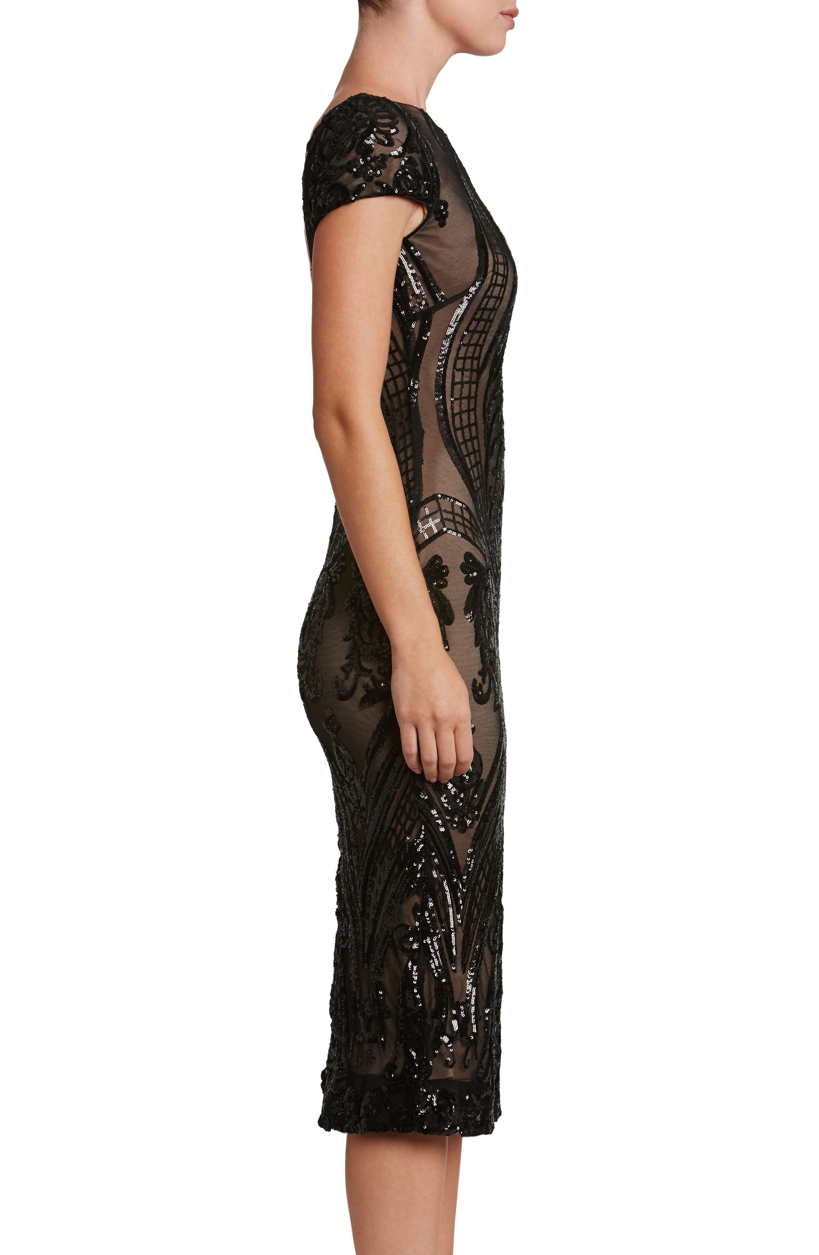 Brandi Sequin Body-Con Dress,                             Alternate thumbnail 3, color,                             002