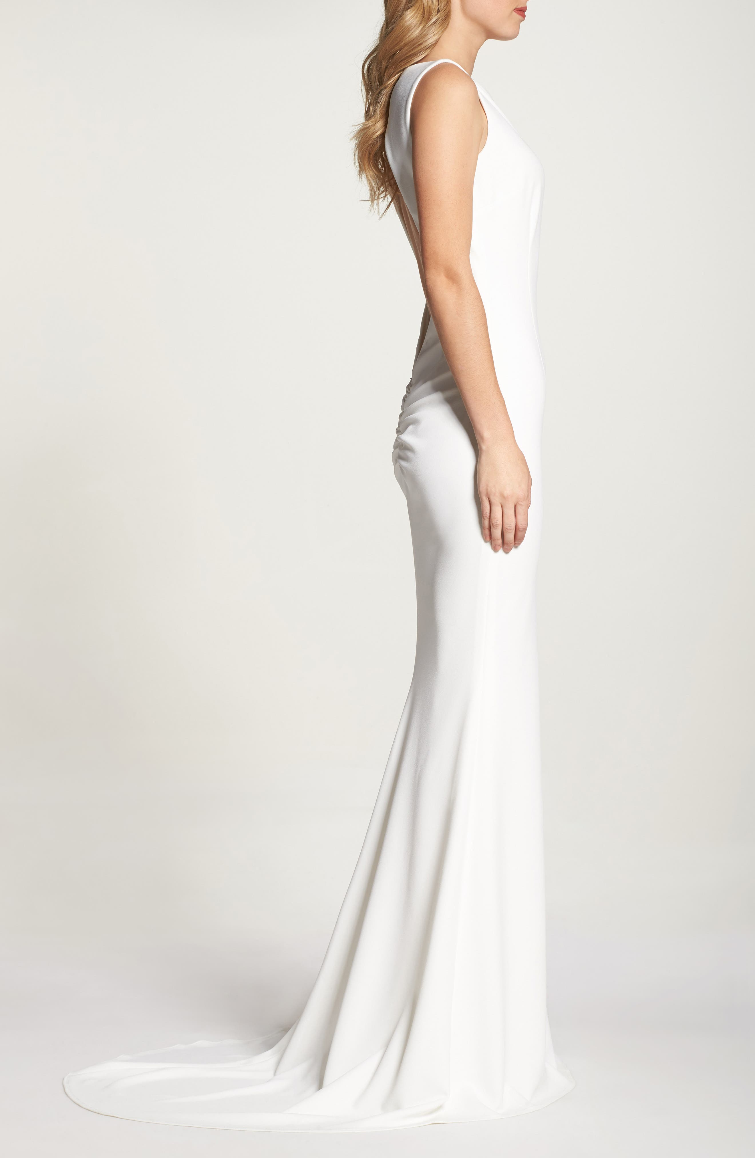 Theo Low Back Crepe Mermaid Gown,                             Alternate thumbnail 3, color,                             IVORY