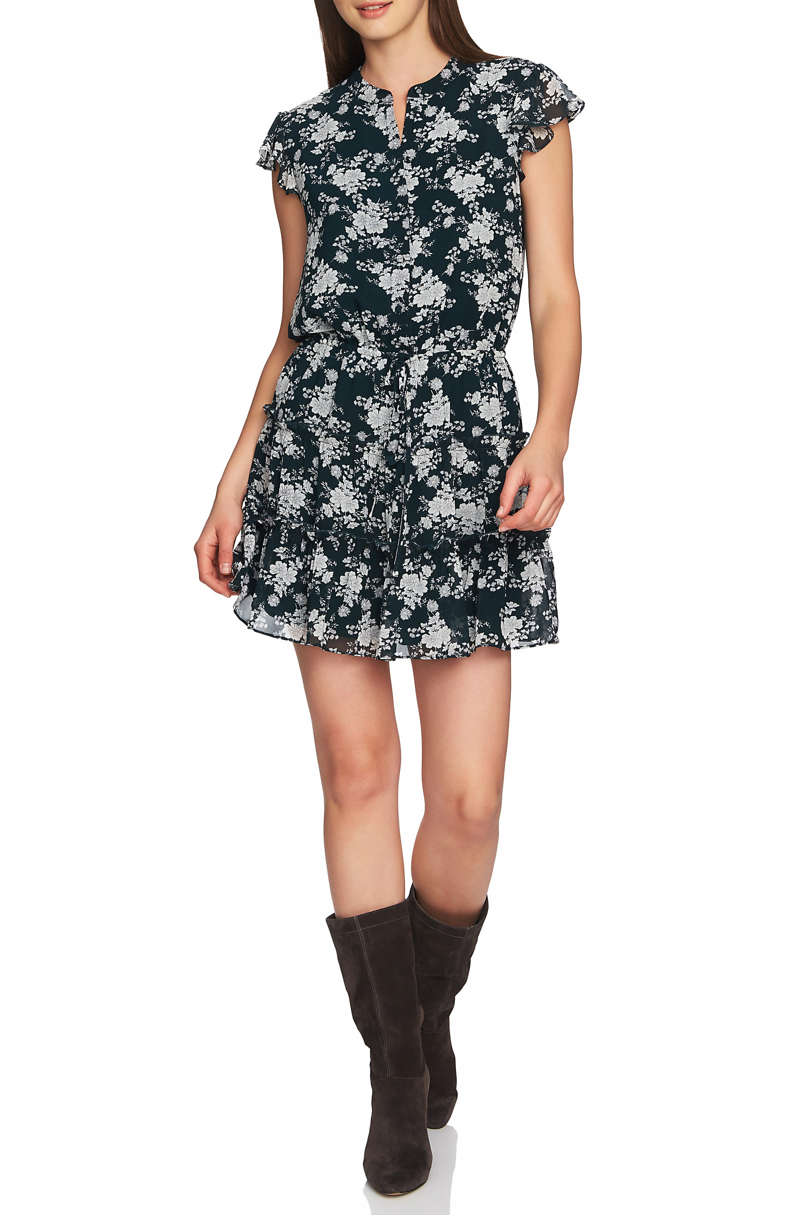 1.state Forest Tiered Ruffle Minidress