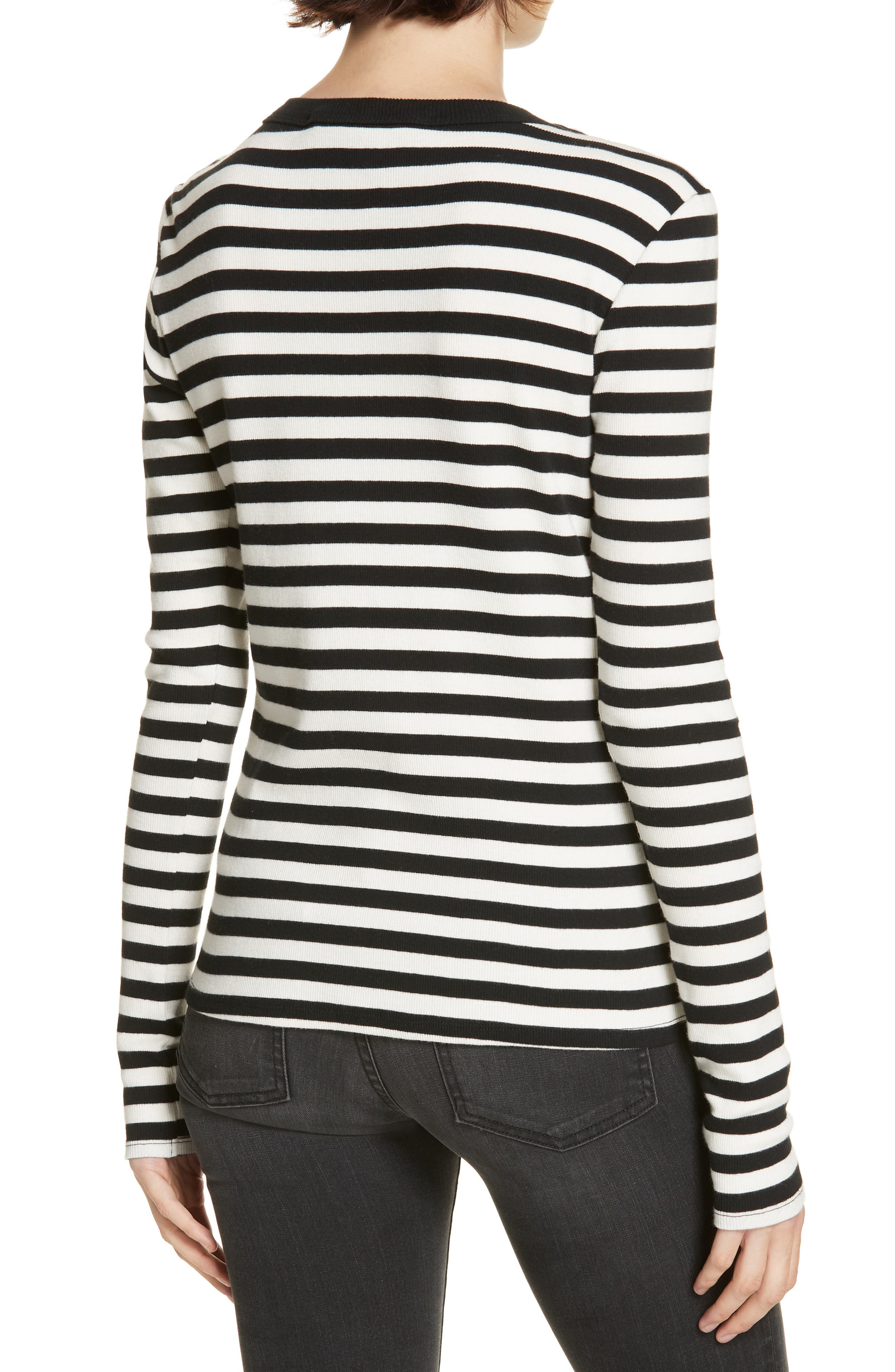 Mayer Button Shoulder Stripe Top,                             Alternate thumbnail 2, color,                             BLACK/ WHITE