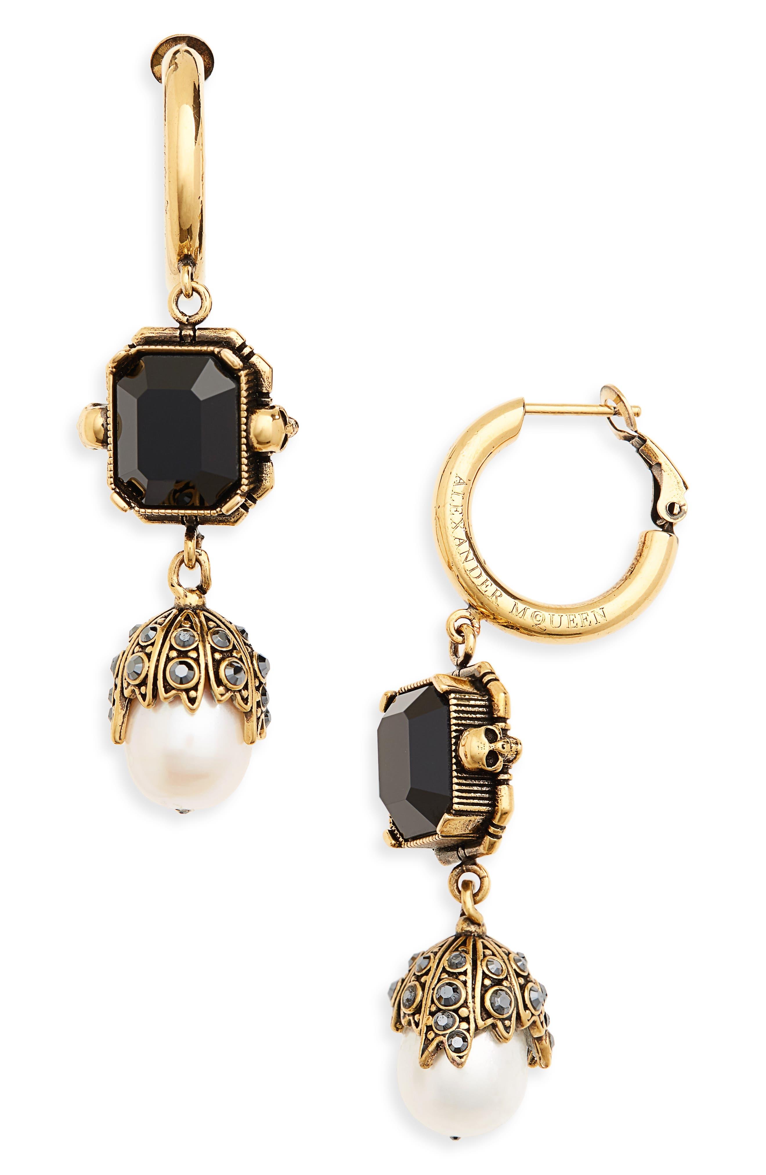 Pearl Drop Earrings,                             Main thumbnail 1, color,                             BLACK/ GOLD