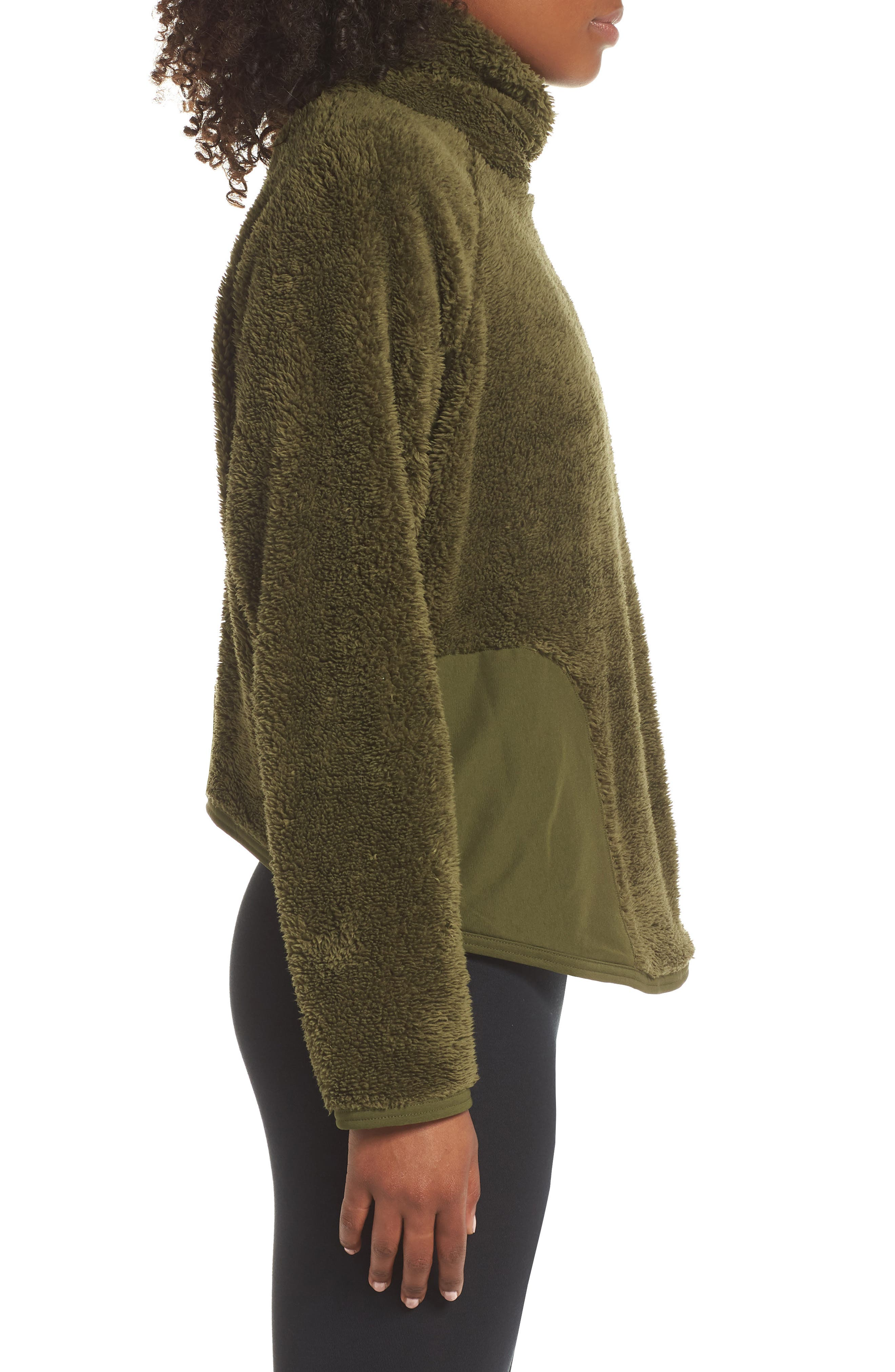 Fleece Mock Neck Top,                             Alternate thumbnail 3, color,                             OLIVE CANVAS/ BLACK