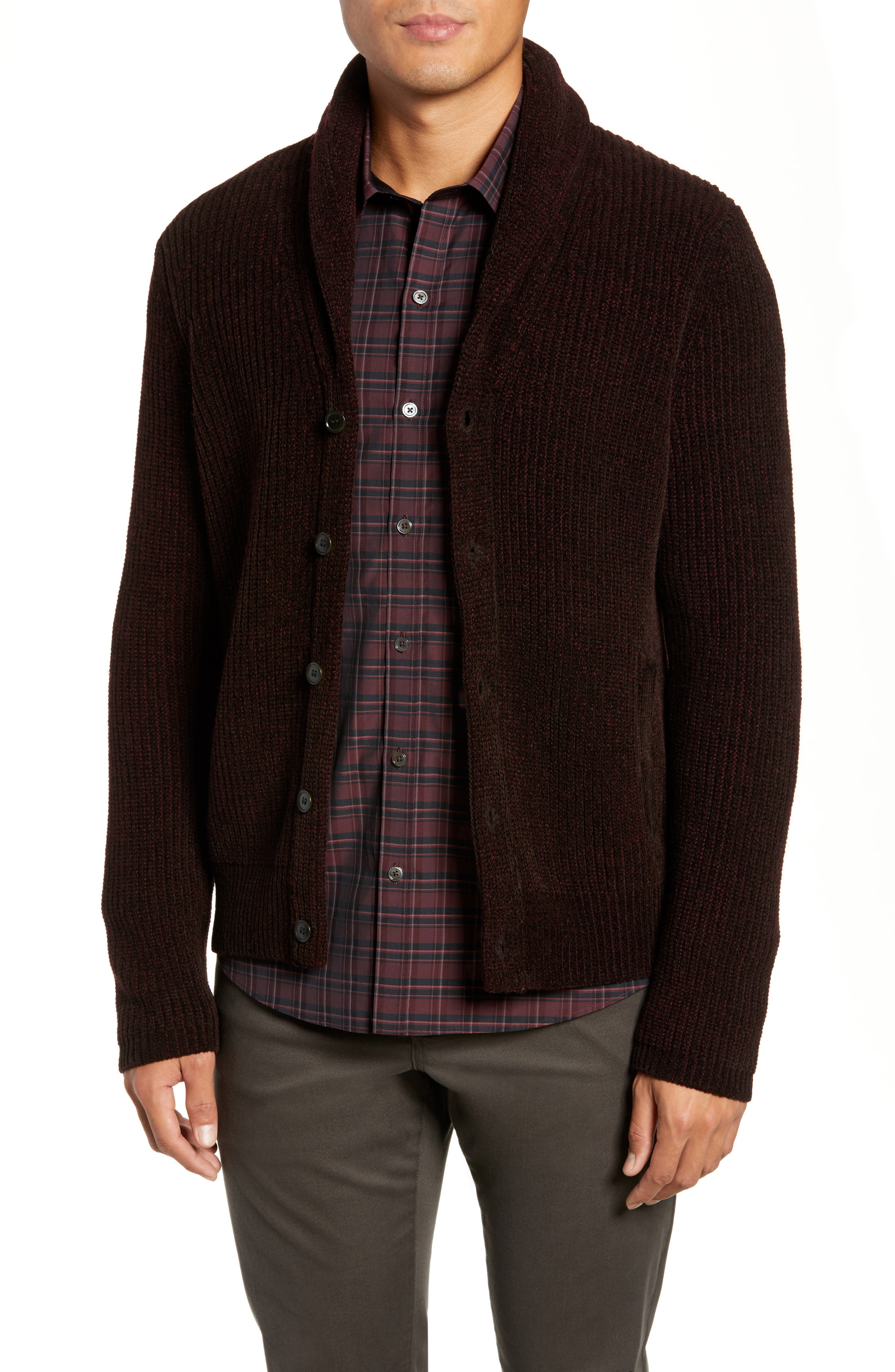 ZACHARY PRELL Quincy Regular Fit Shawl Collar Cardigan in Brown
