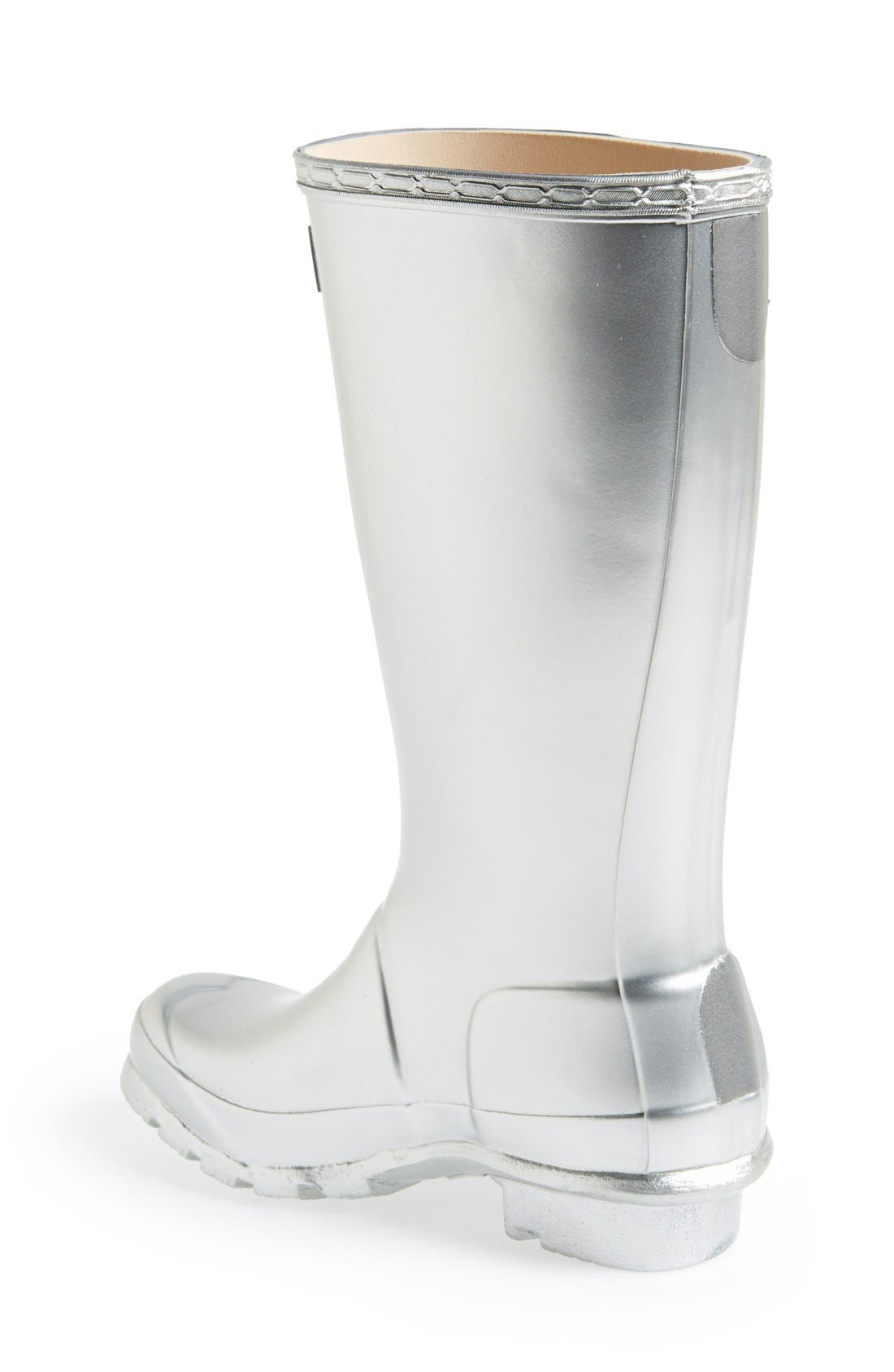 HUNTER,                             Original Waterproof Rain Boot,                             Alternate thumbnail 2, color,                             SILVER