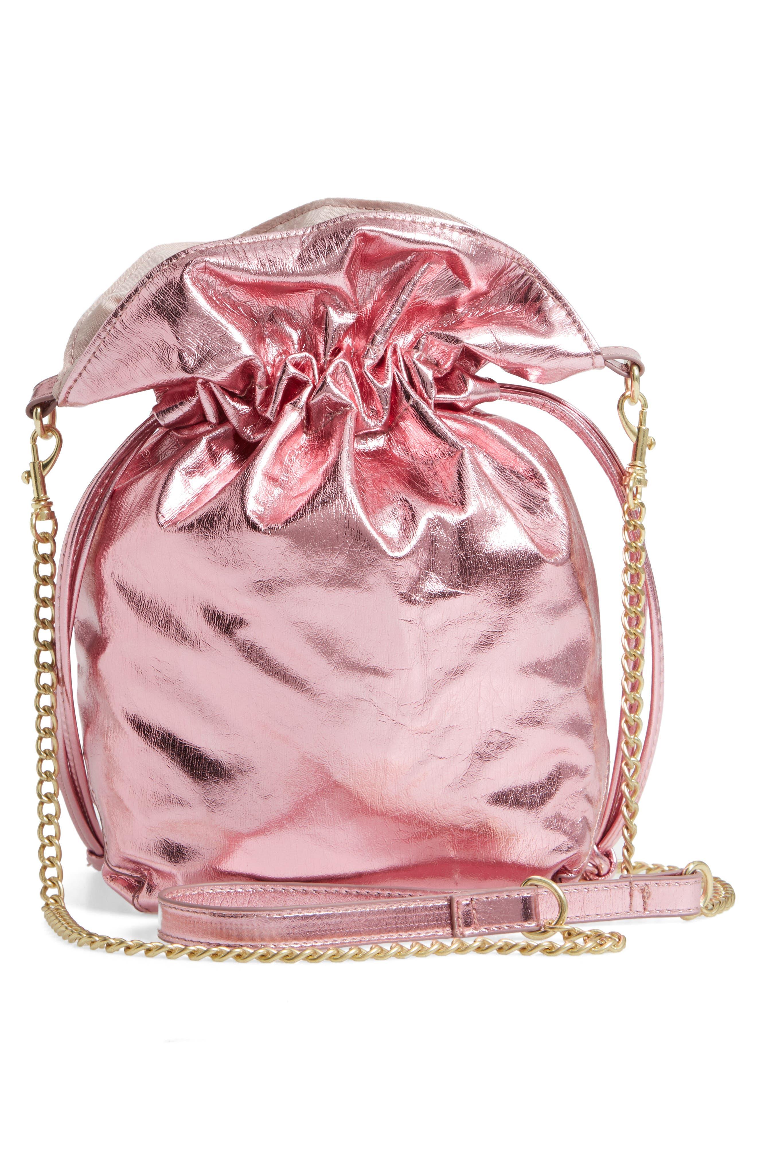 Mini Slouch Drawstring Bag,                             Alternate thumbnail 3, color,                             PINK METALLIC