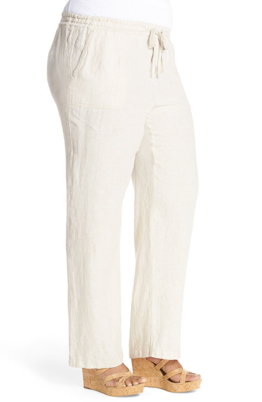 Drawstring Linen Pants,                             Alternate thumbnail 24, color,