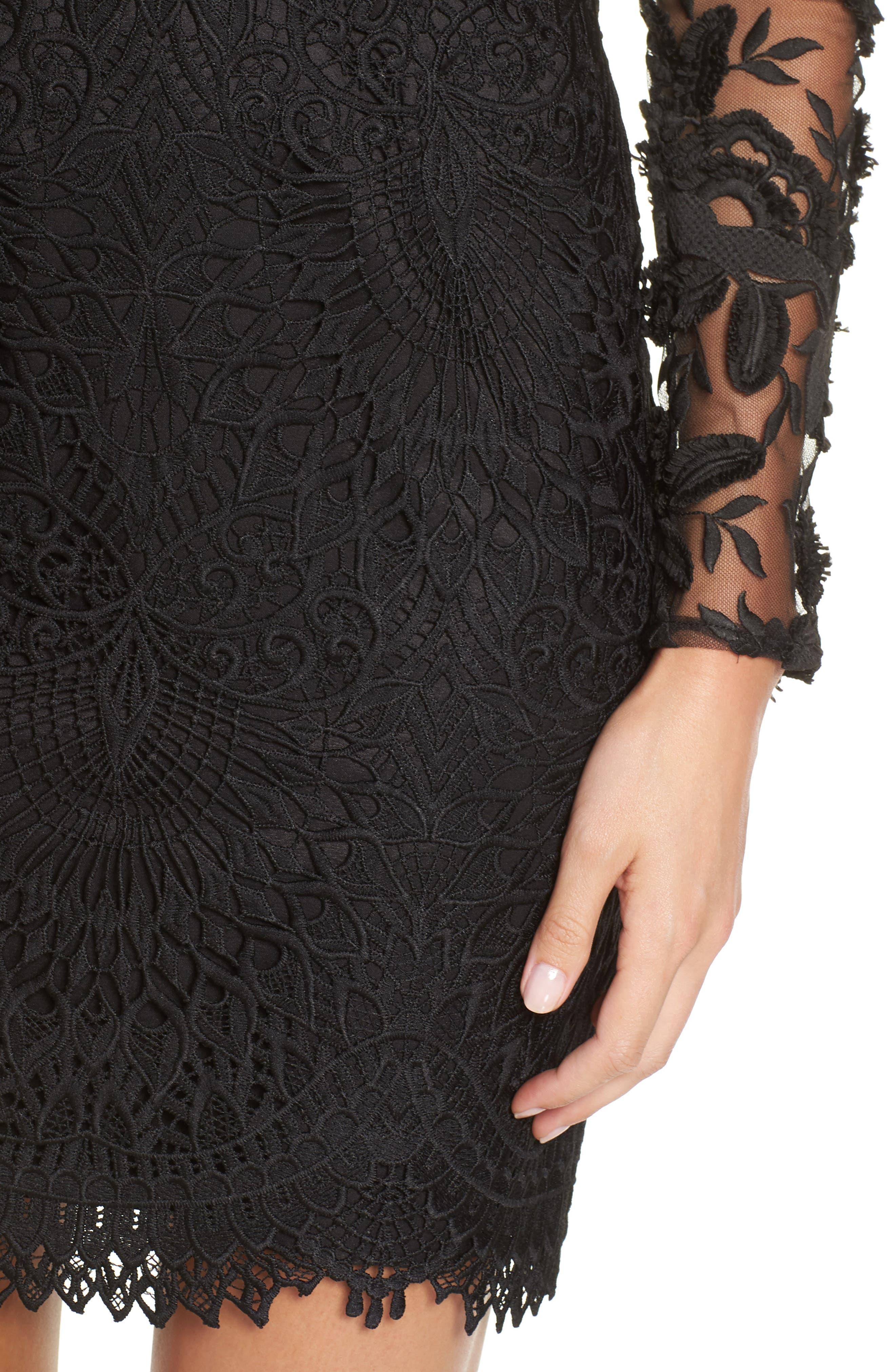Calypso Lace Sheath Dress,                             Alternate thumbnail 4, color,                             BLACK/ NUDE