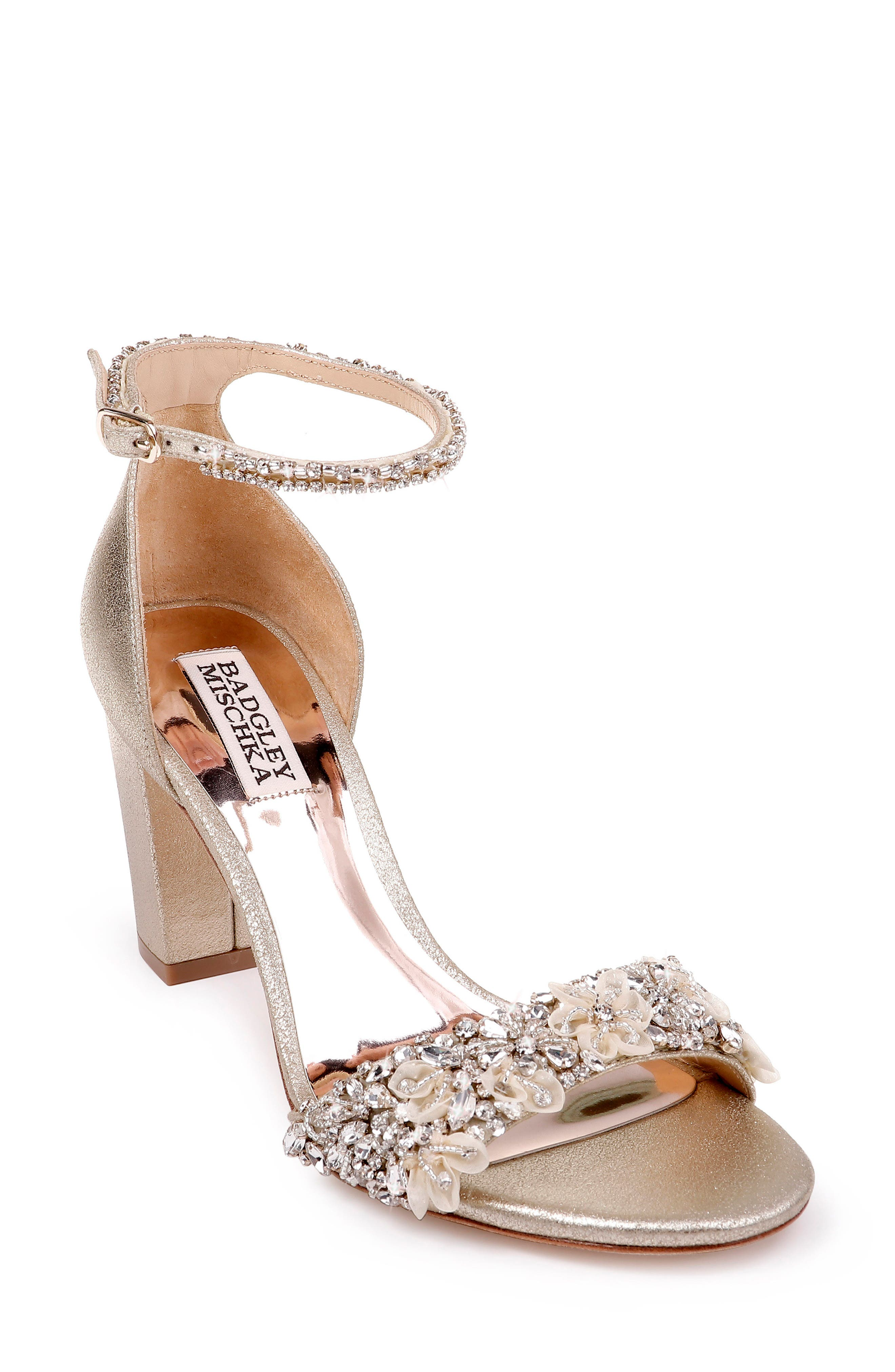 Badgley Mischka Finesse Embellished Ankle Strap Sandal, Metallic