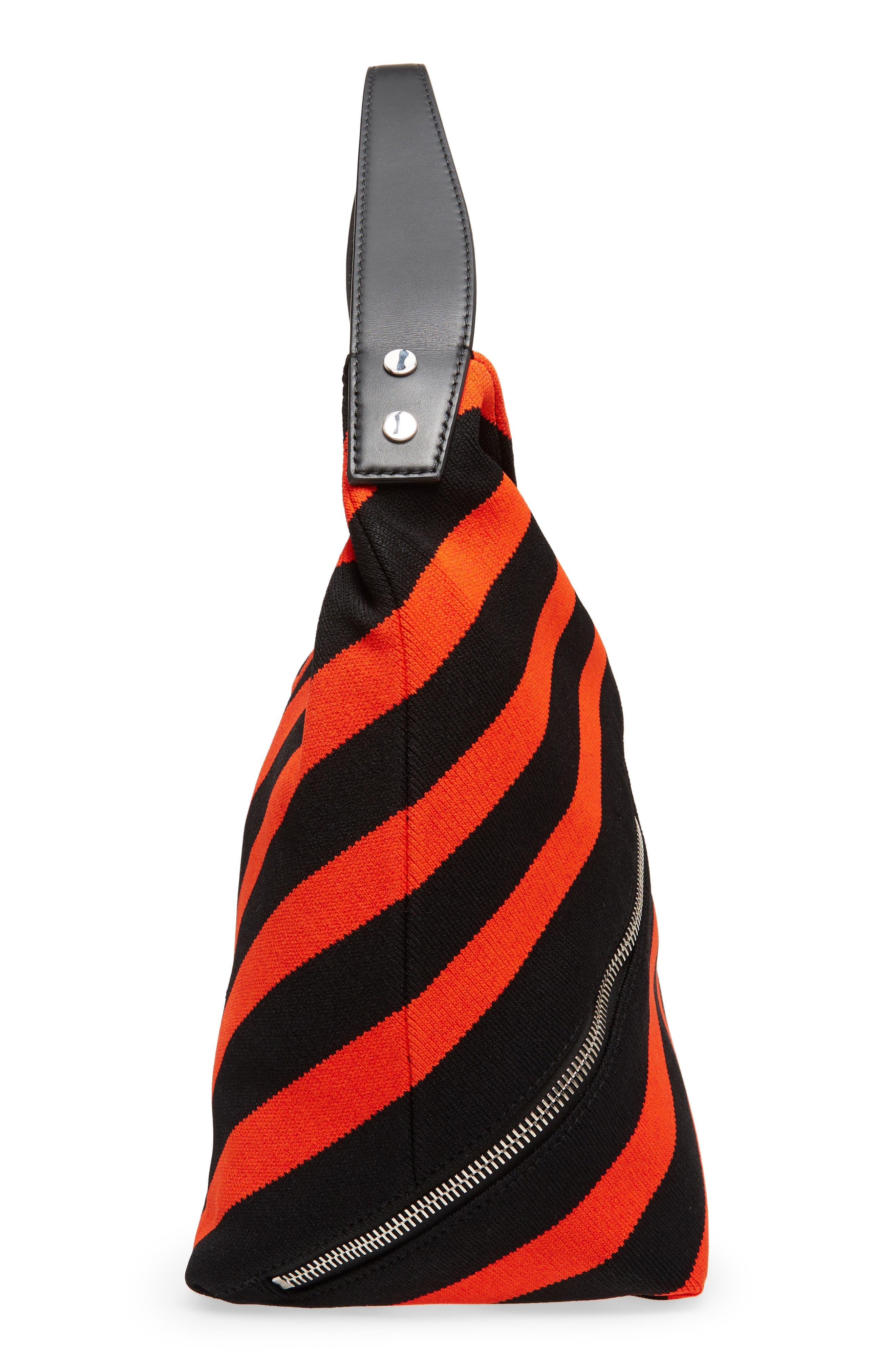 Medium Asymmetric Zip Stripe Textile Hobo,                             Alternate thumbnail 5, color,                             BLACK/ HOT CORAL