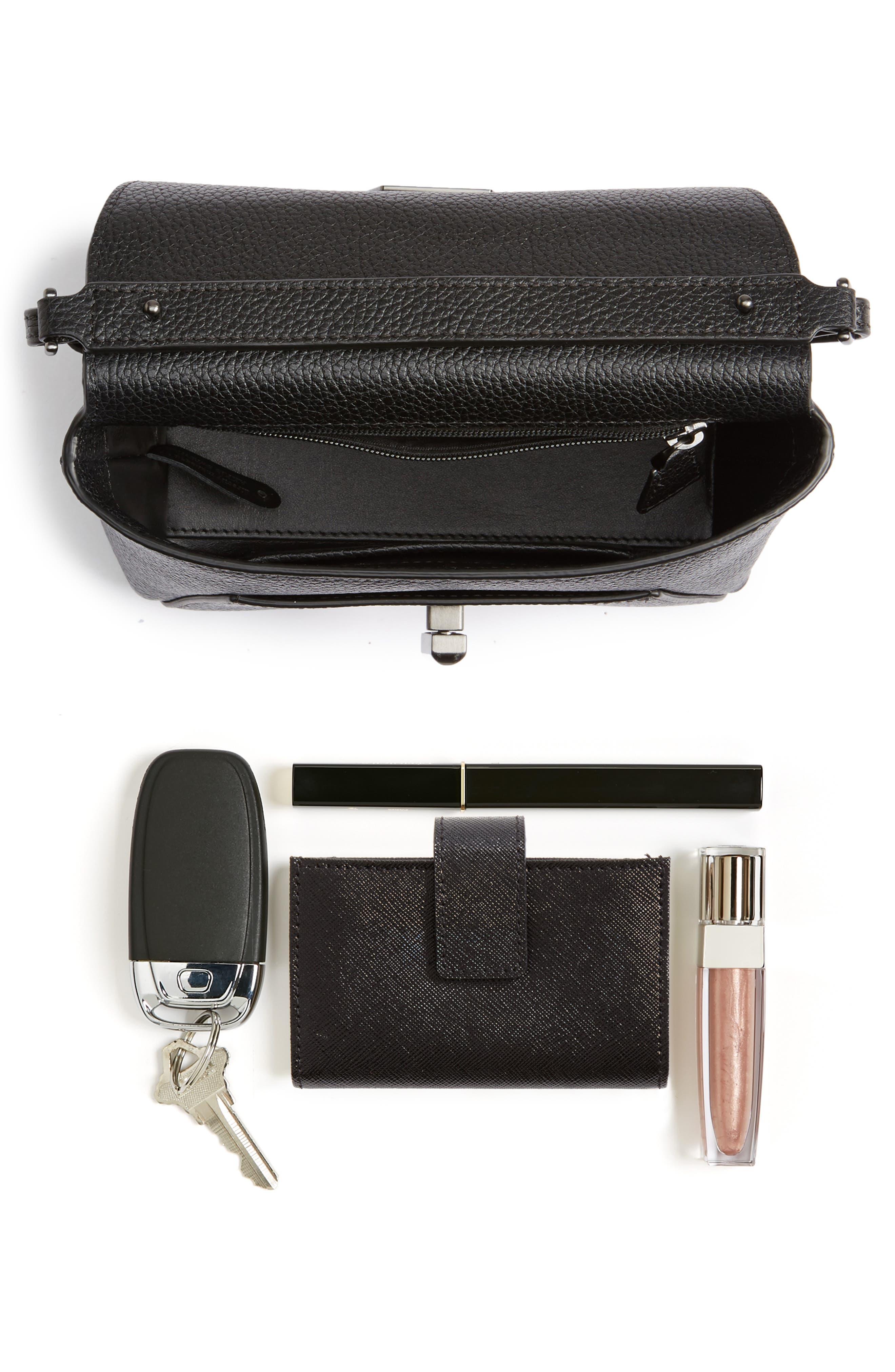Little Anouk Leather Crossbody Bag,                             Alternate thumbnail 7, color,                             009 BLACK