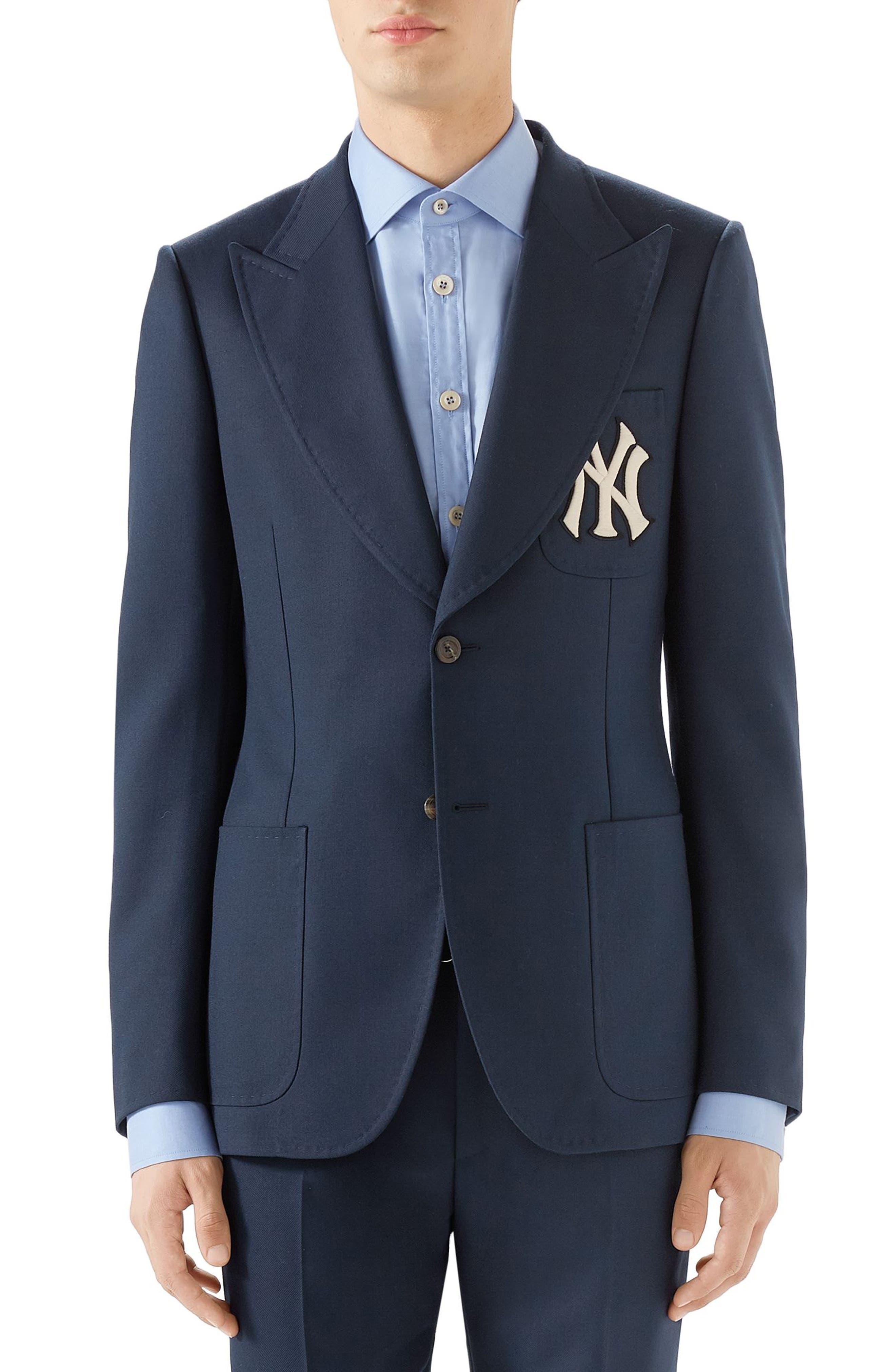 Peak Lapel Sport Coat, Main, color, BLUE