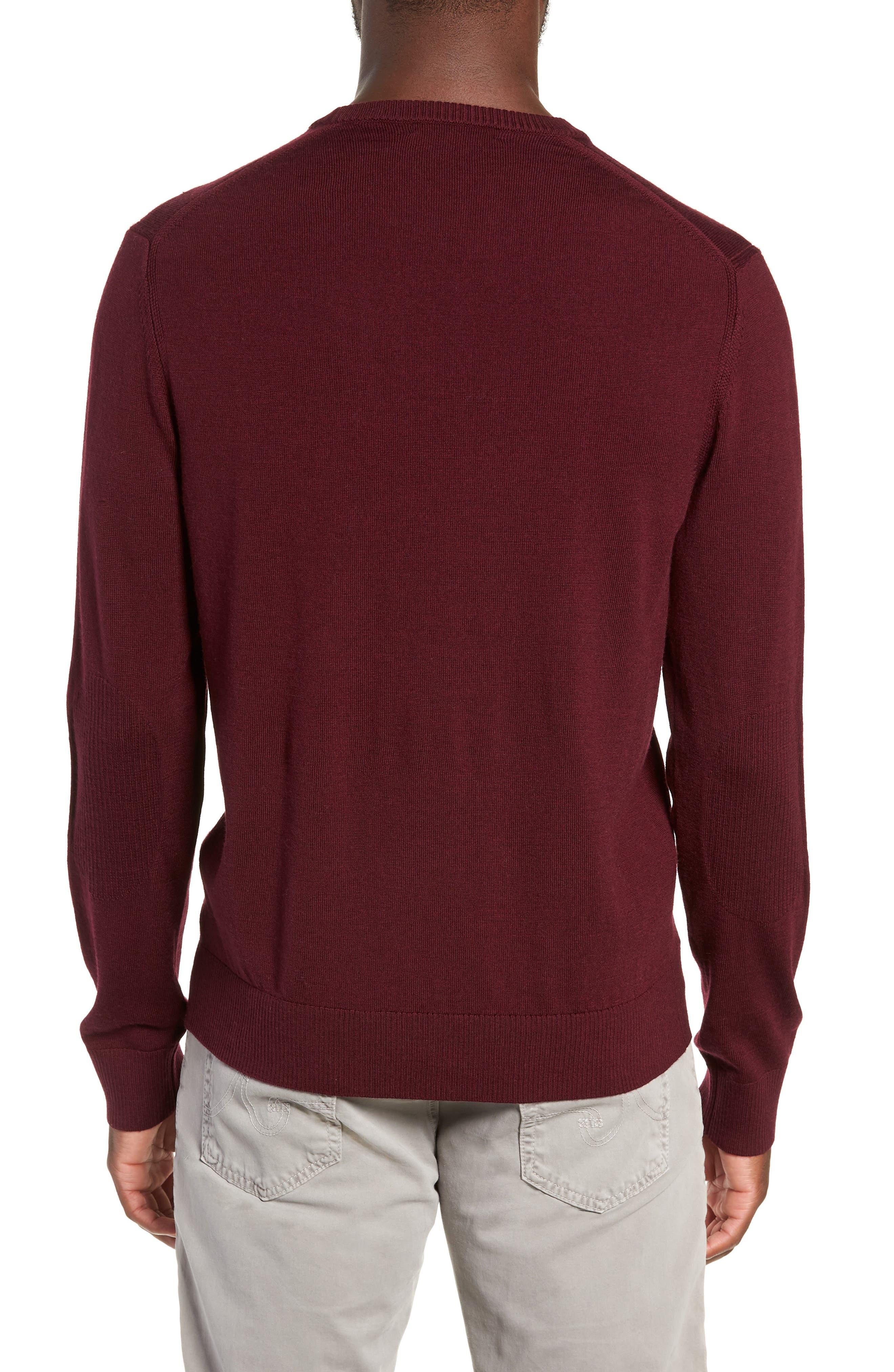 Heart Intarsia Regular Fit Merino Wool Sweater,                             Alternate thumbnail 2, color,                             BEETROOT