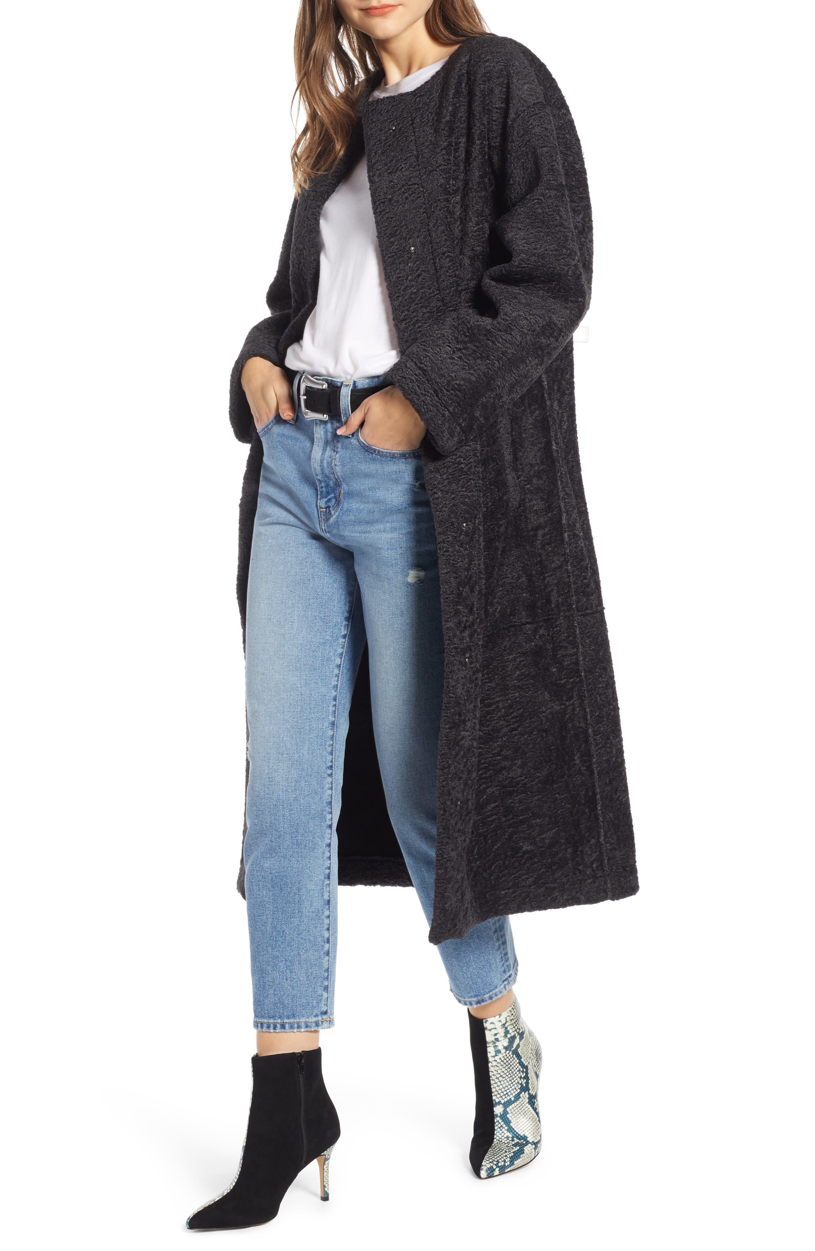 Long Faux Shearling Coat, Main, color, GREY PHANTOM