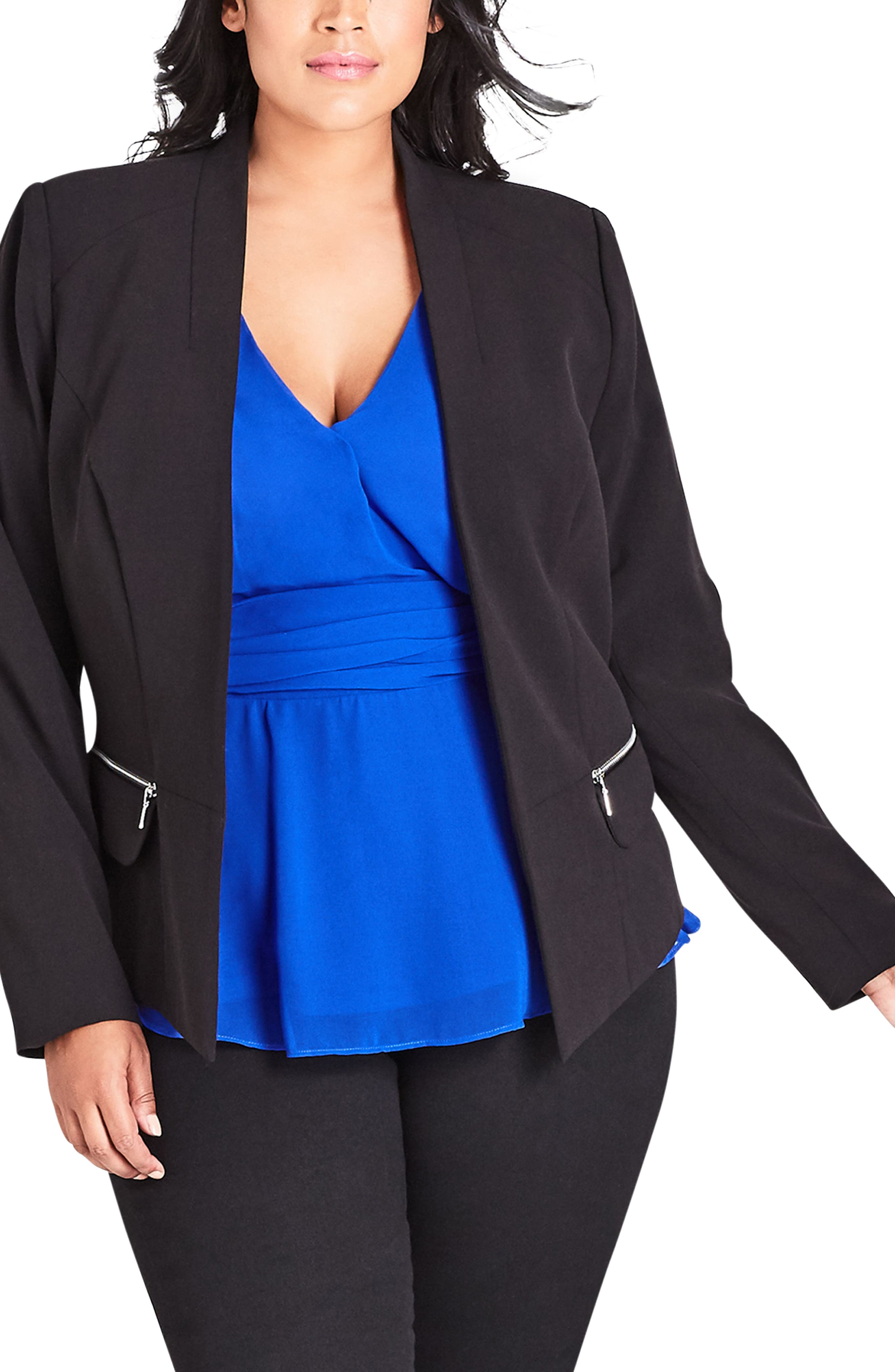 Elegance Fitted Jacket,                             Main thumbnail 1, color,                             BLACK