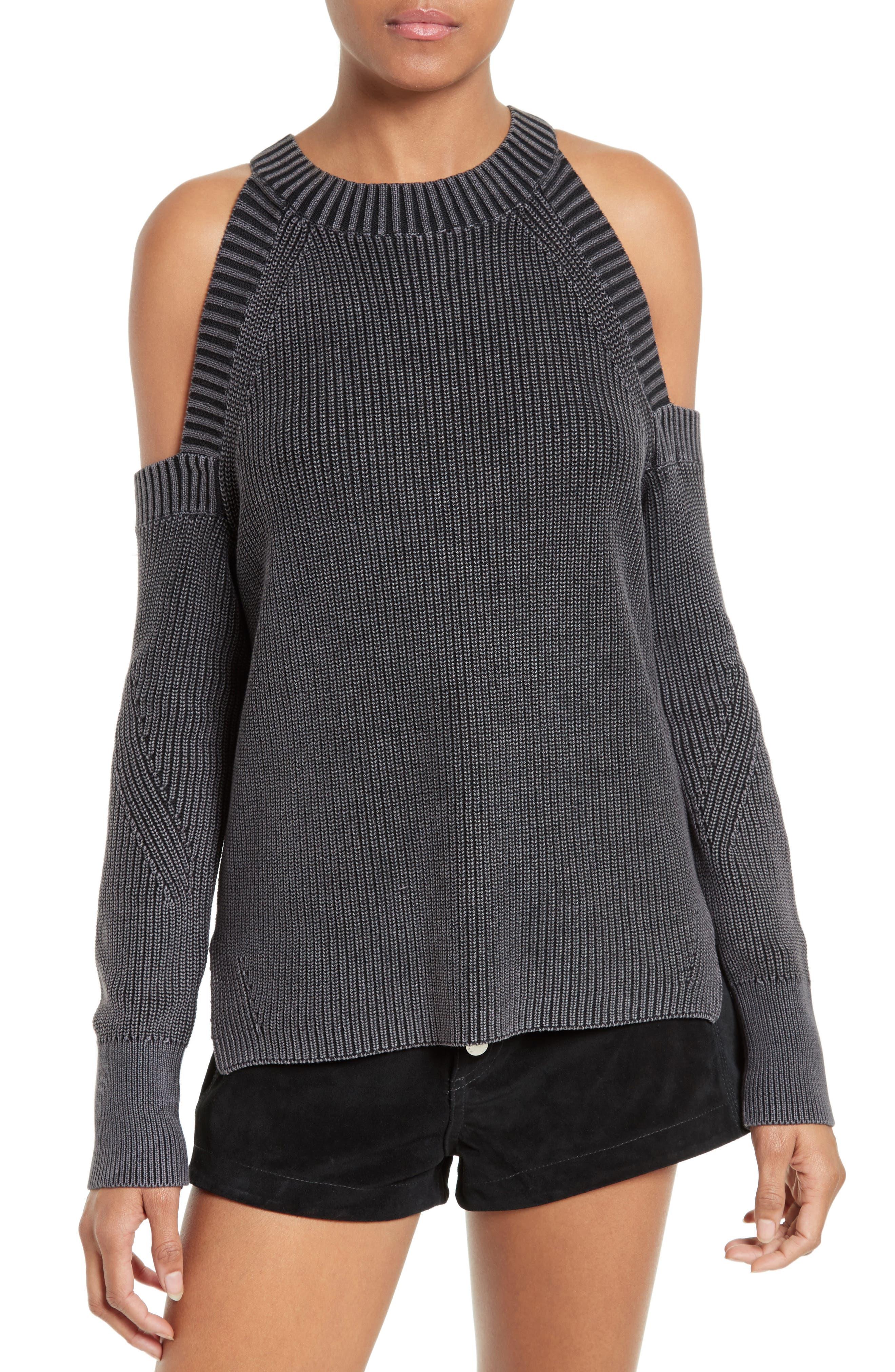 RAG & BONE JEAN Dana Cold Shoulder Sweater, Main, color, 001