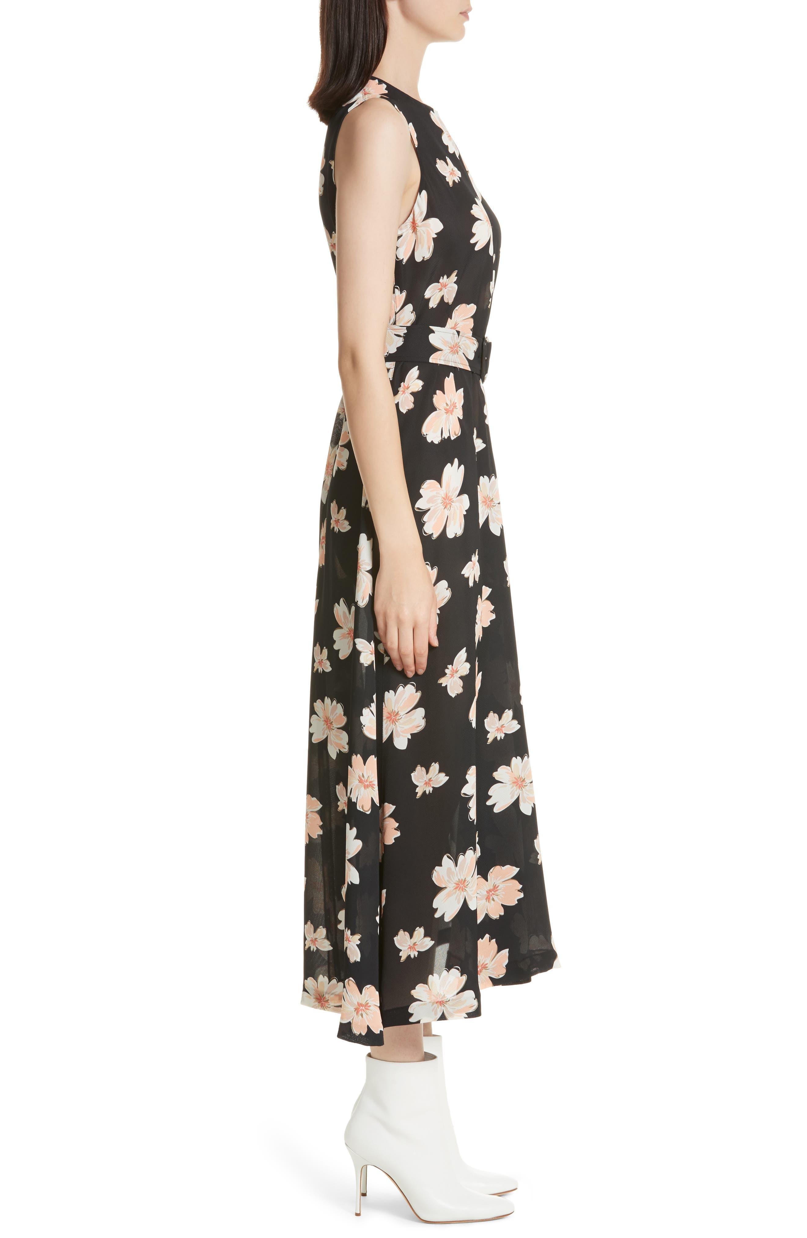Arka Winterfloral Belted Midi Dress,                             Alternate thumbnail 3, color,                             005