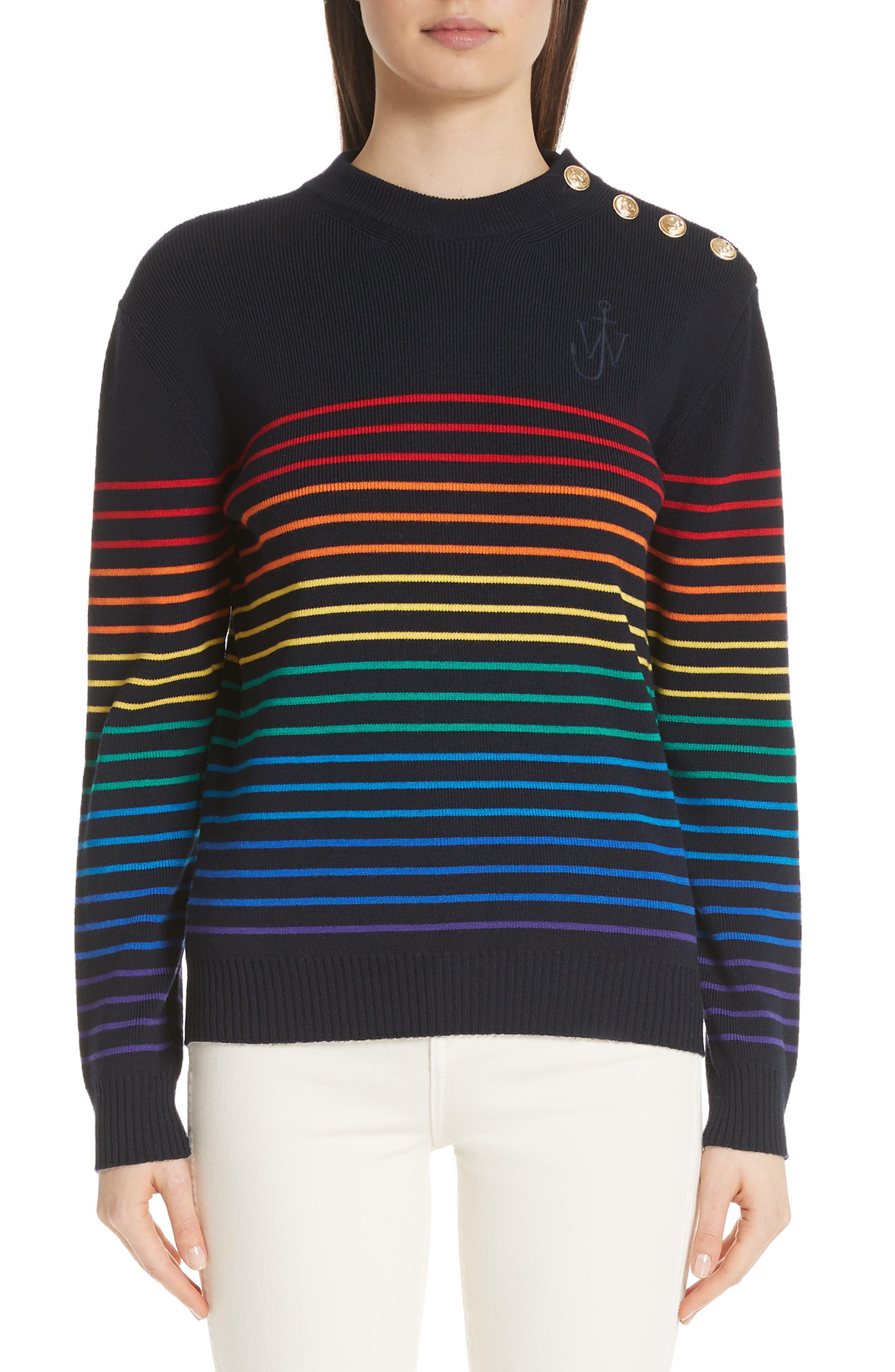 Marinière Stripe Wool Sweater,                             Main thumbnail 1, color,                             400