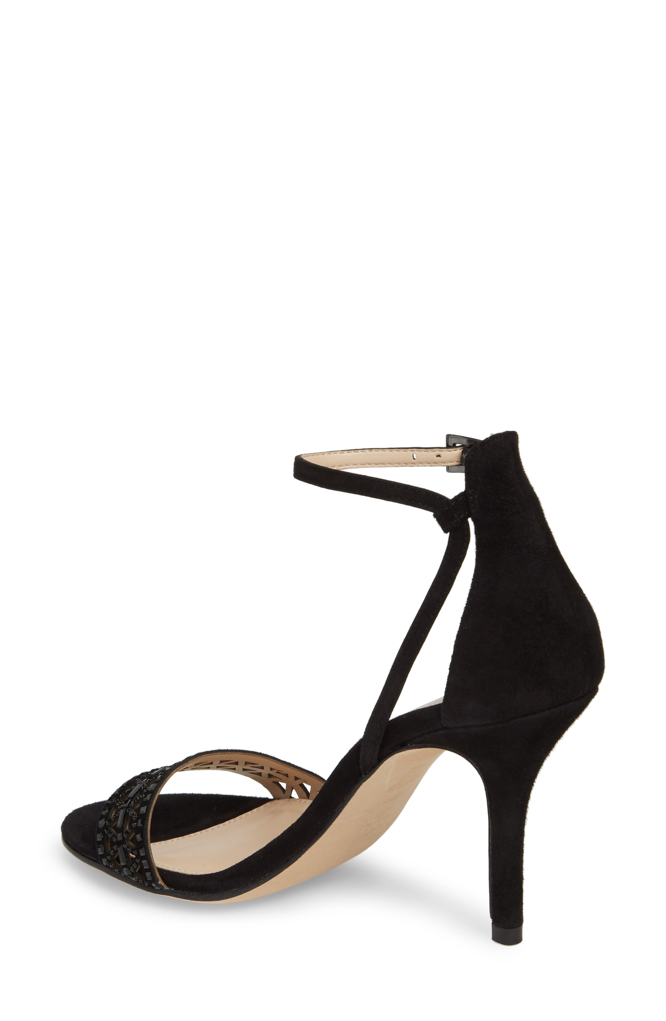 Karmina Embellished Sandal,                             Alternate thumbnail 2, color,                             BLACK SUEDE