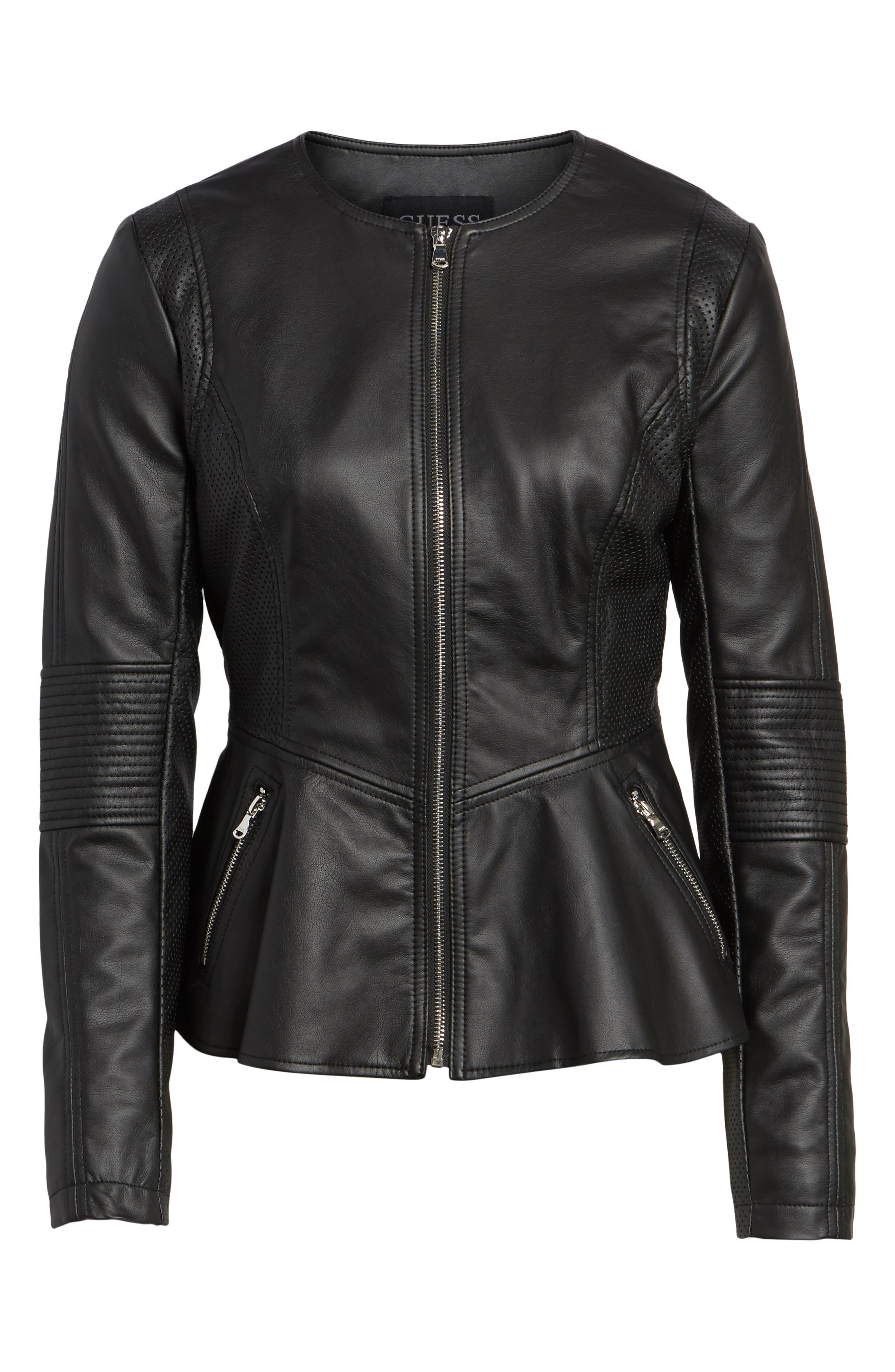 Perforated Peplum Hem Faux Leather Jacket,                             Alternate thumbnail 5, color,                             001