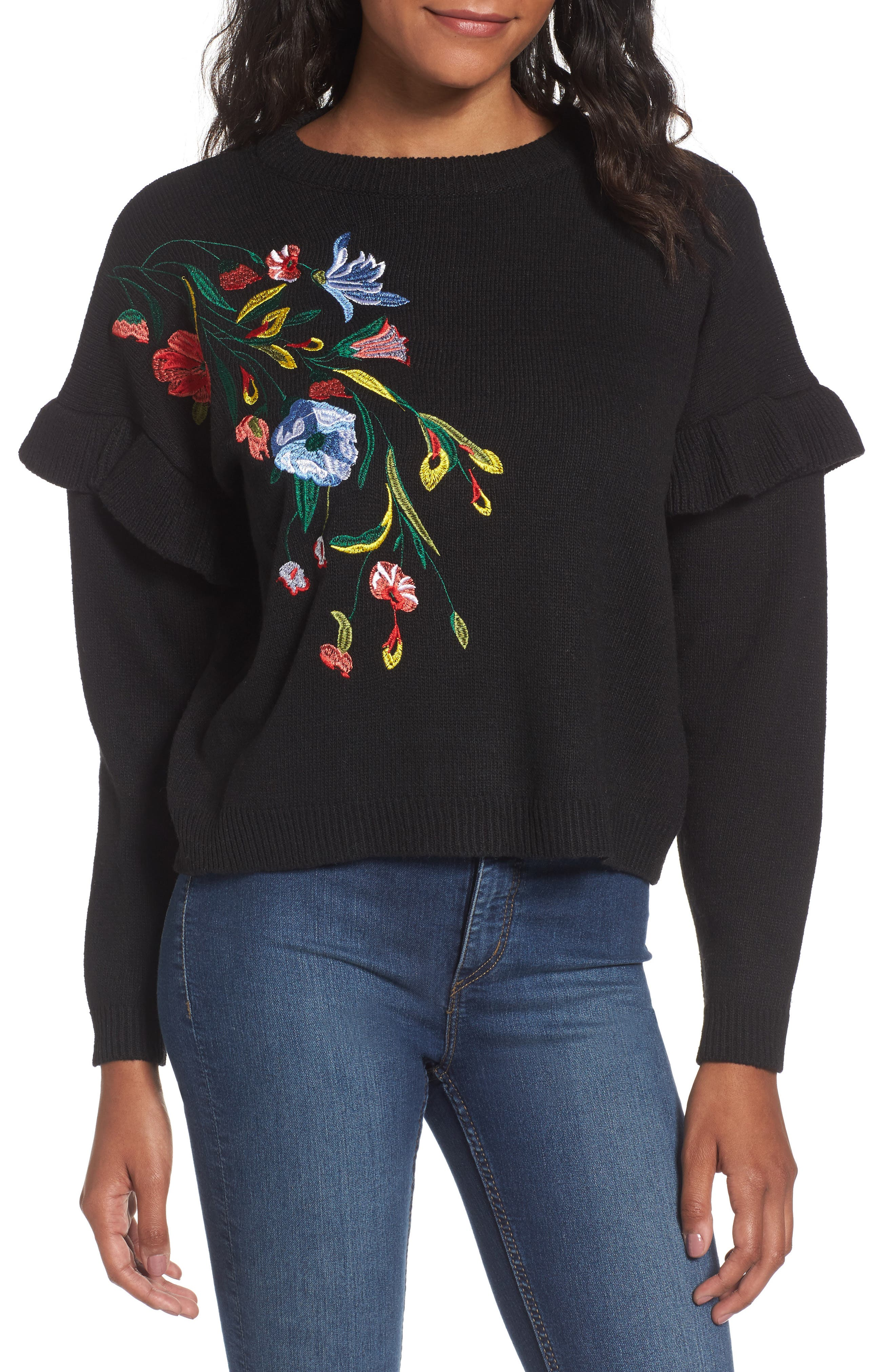 Ruffle Sleeve Embroidered Sweater,                             Main thumbnail 1, color,                             001