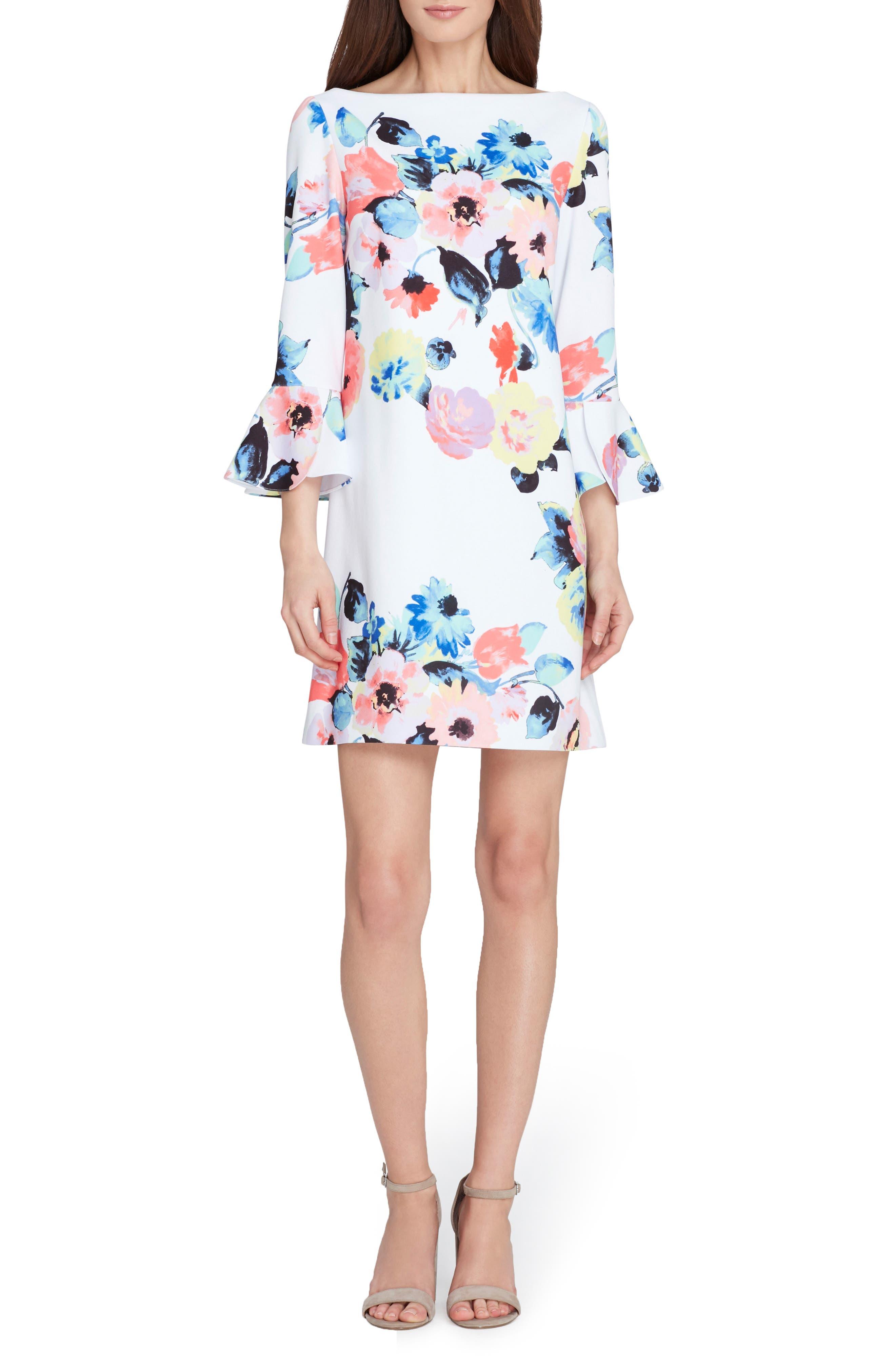 Floral Bell Sleeve Shift Dress,                             Main thumbnail 1, color,                             197