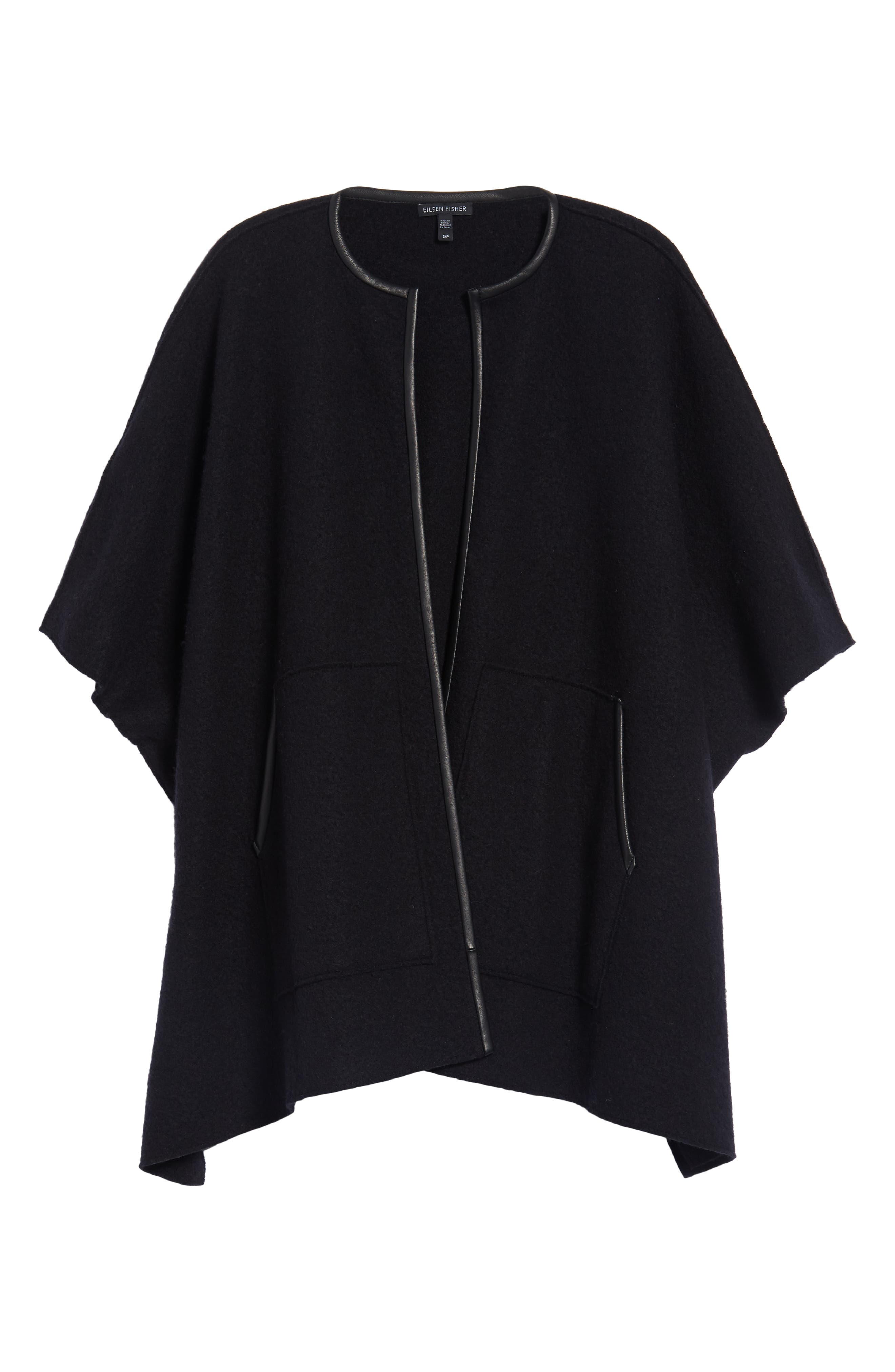 Boiled Wool Poncho Jacket with Leather Trim,                             Alternate thumbnail 6, color,                             BLACK