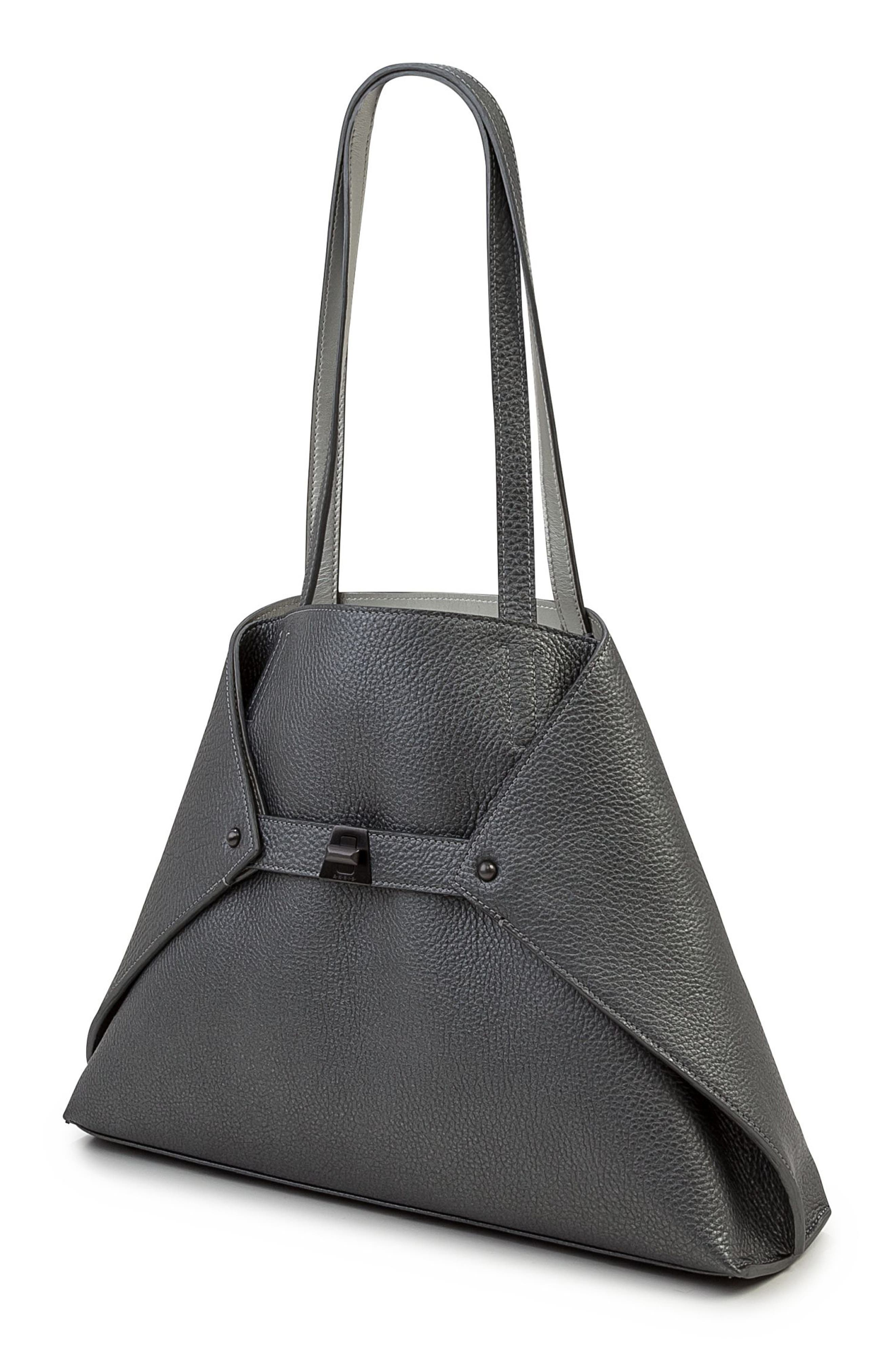Small AI Reversible Leather Tote,                             Alternate thumbnail 3, color,                             GREY METALLIC/ LIGHT SILVER