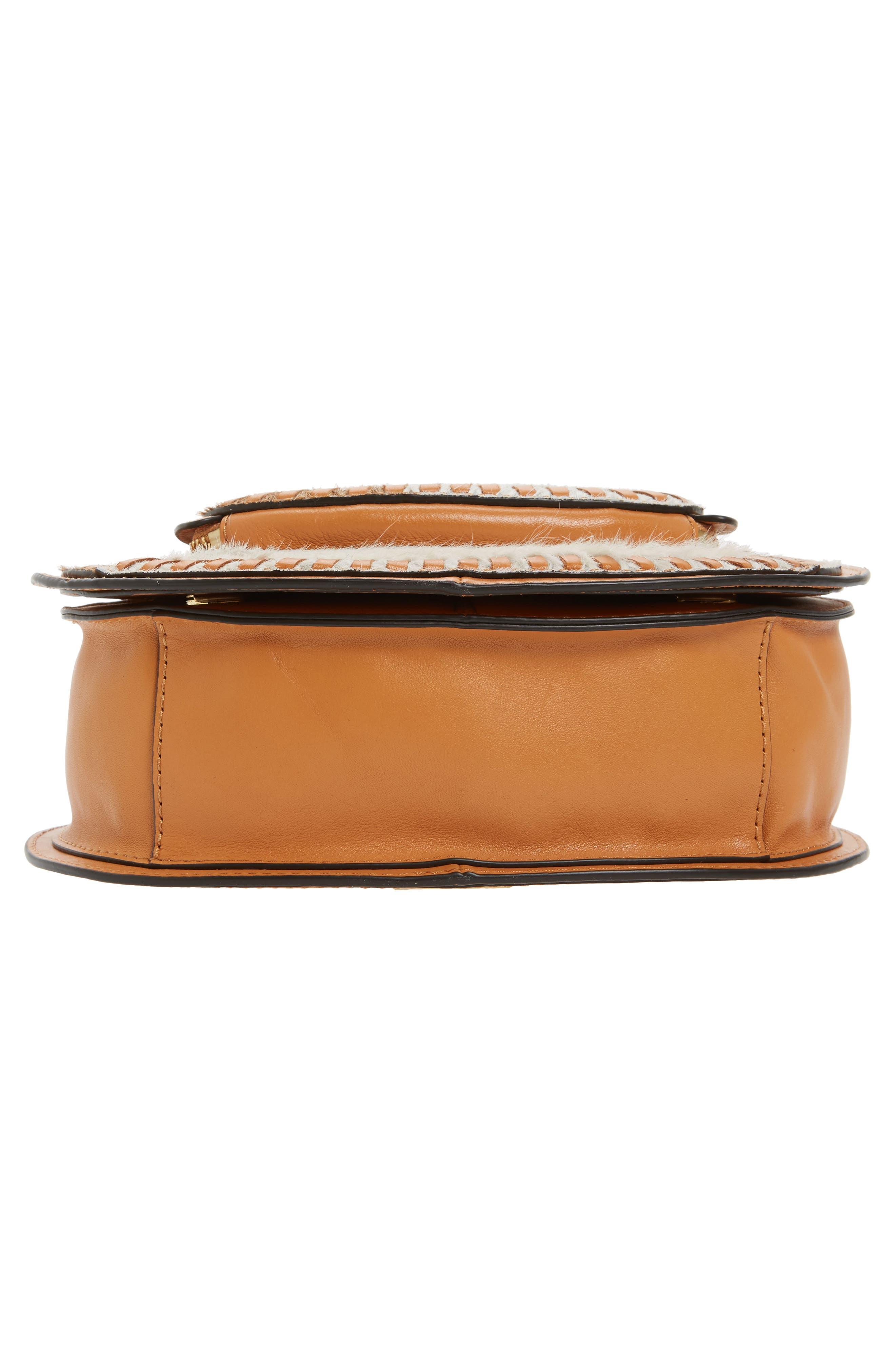 Small Vanity Genuine Calf Hair Saddle Bag,                             Alternate thumbnail 7, color,                             200