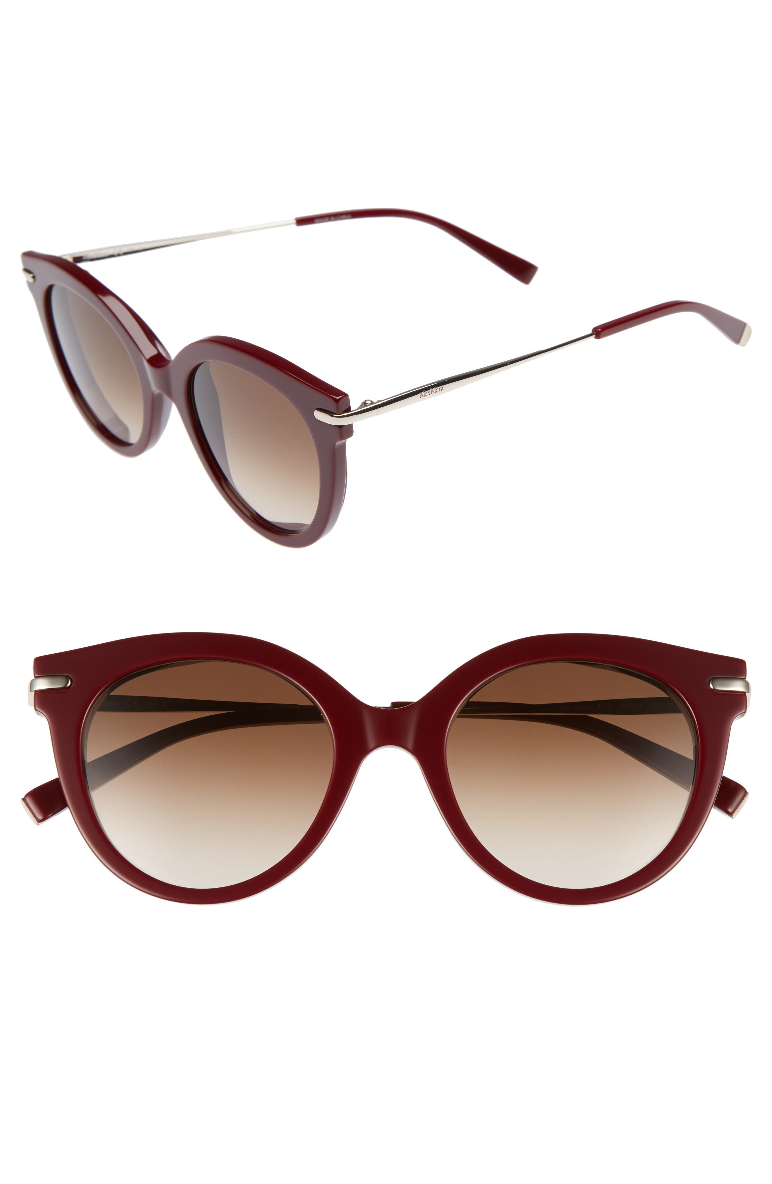 Needle VI 50mm Gradient Round Sunglasses,                             Main thumbnail 1, color,                             BURGUNDY GOLD