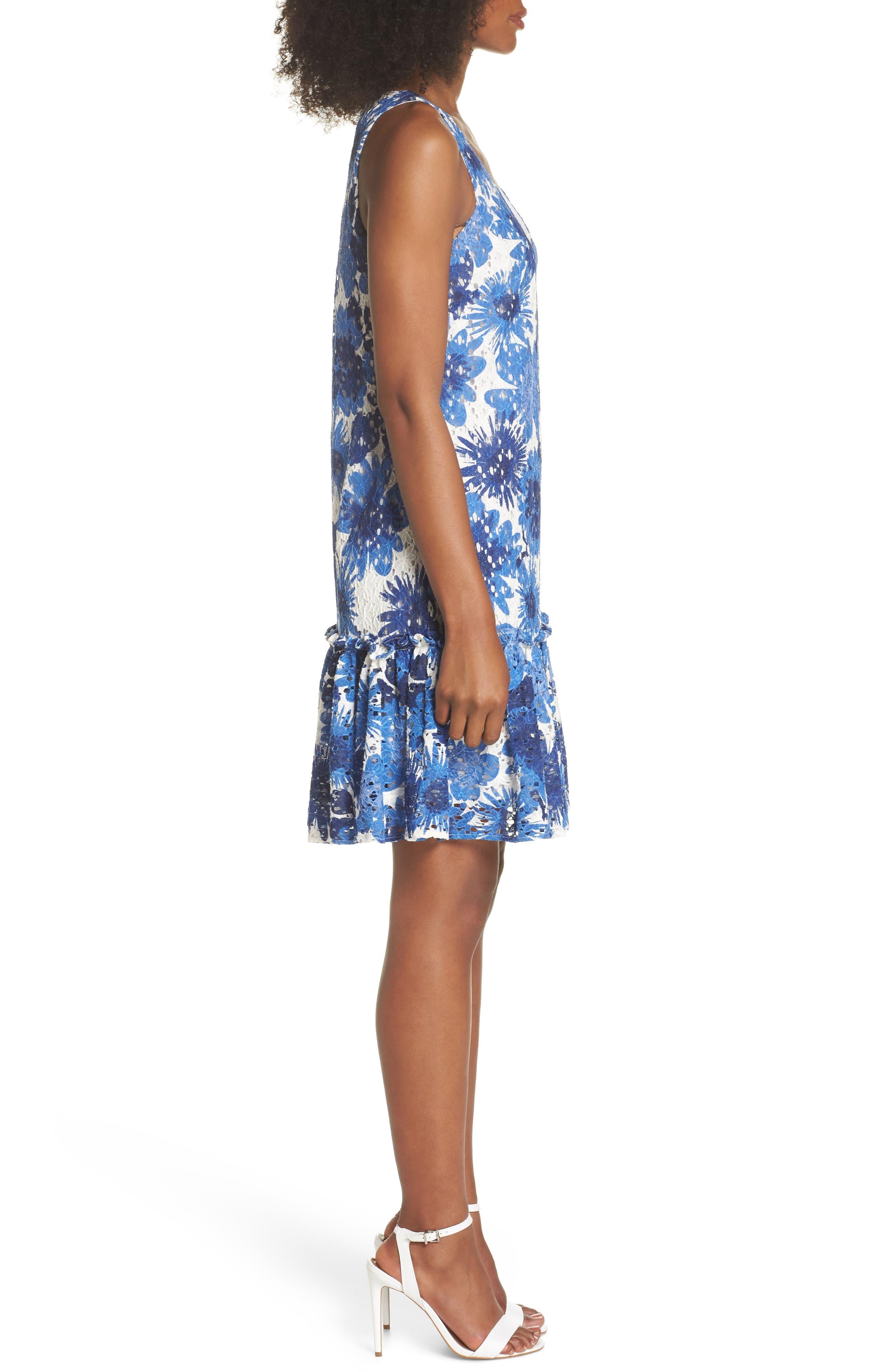 La Costa Print Ruffle Hem Lace Dress,                             Alternate thumbnail 3, color,                             MULTI