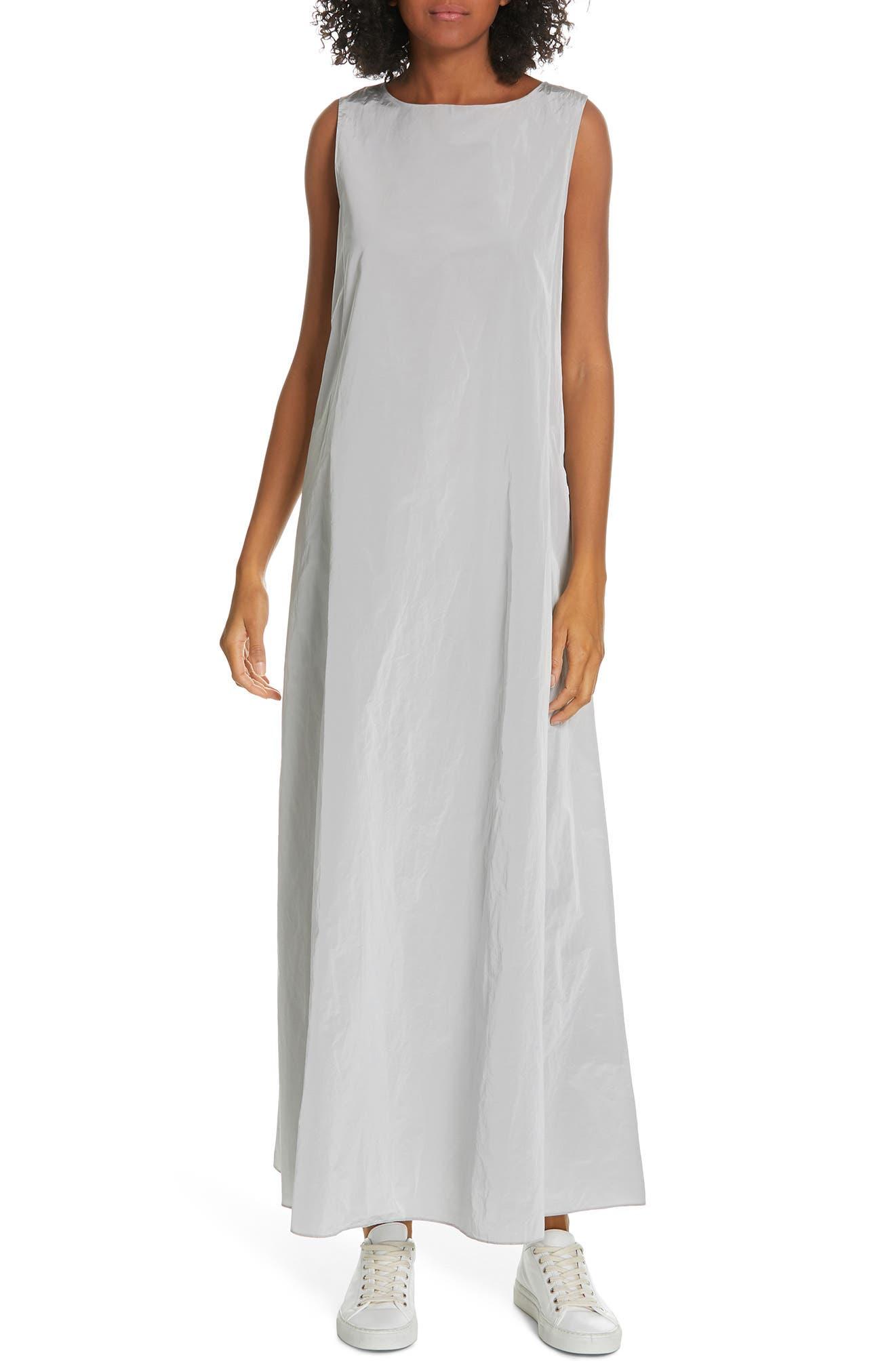 Sleeveless A-Line Maxi Dress,                         Main,                         color, SILVER ICE