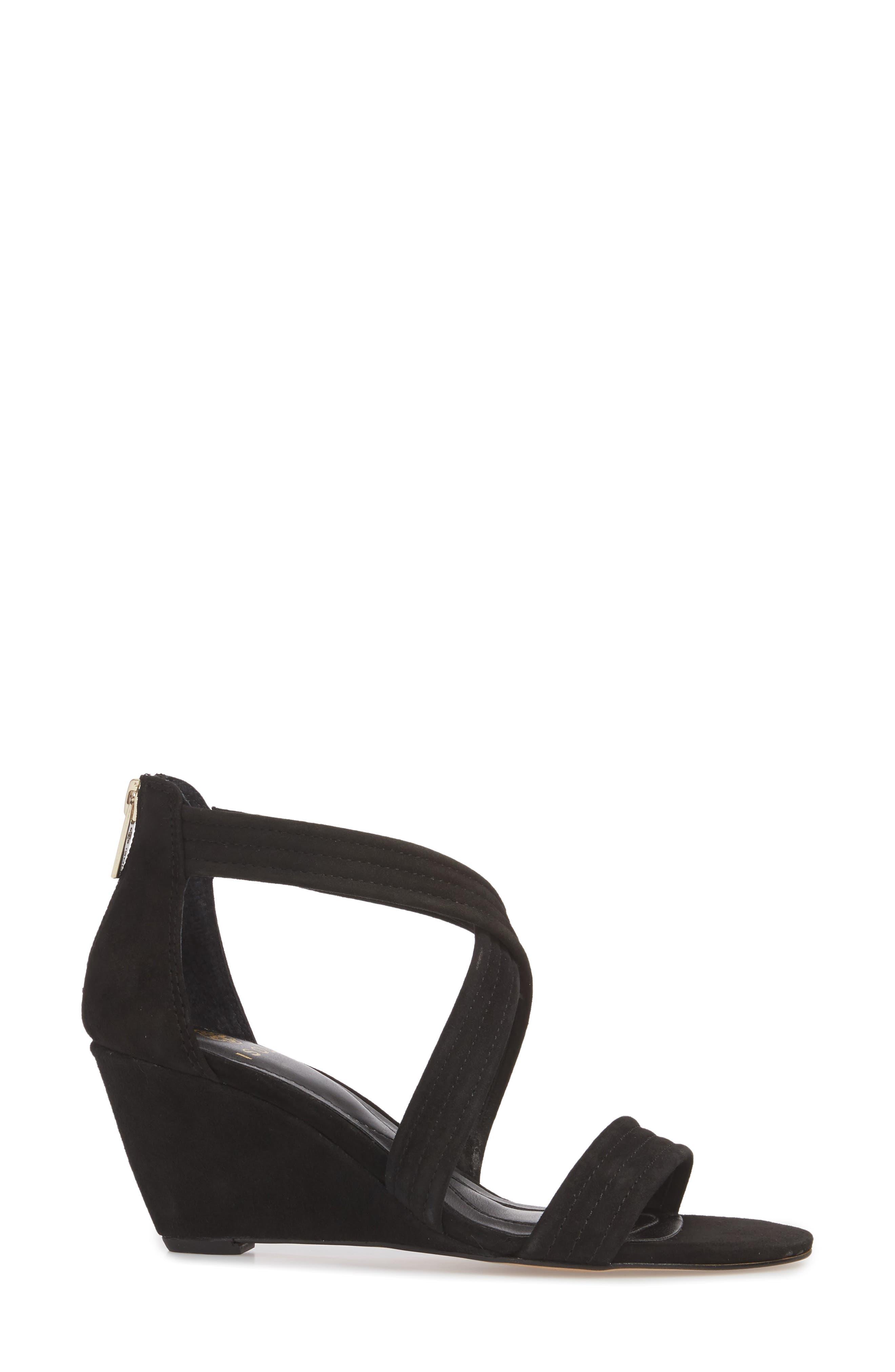 Fia Wedge Sandal,                             Alternate thumbnail 3, color,                             BLACK SUEDE