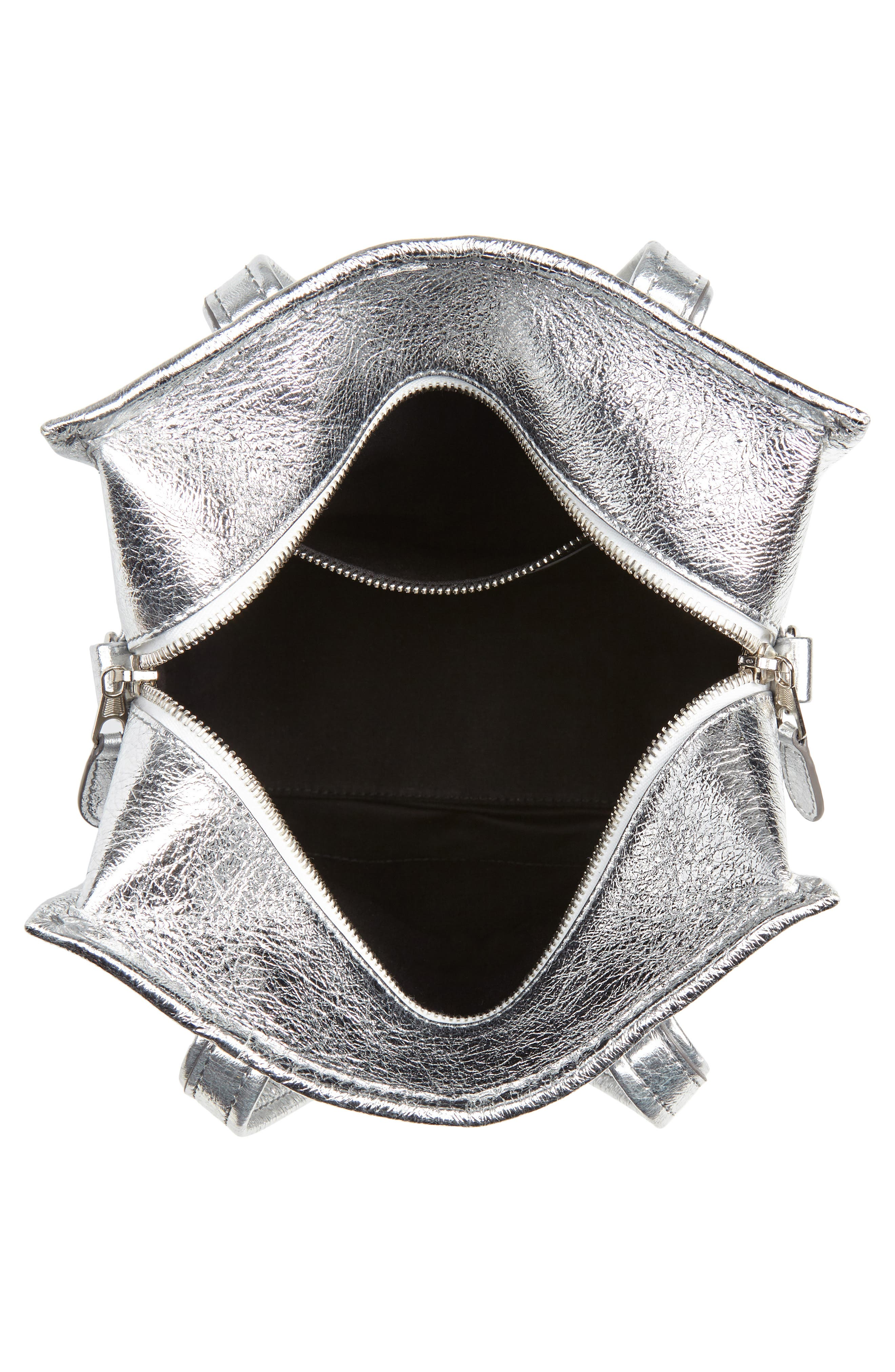 Extra Small Bazar Metallic Lambskin Leather Shopper,                             Alternate thumbnail 4, color,                             ARGENT