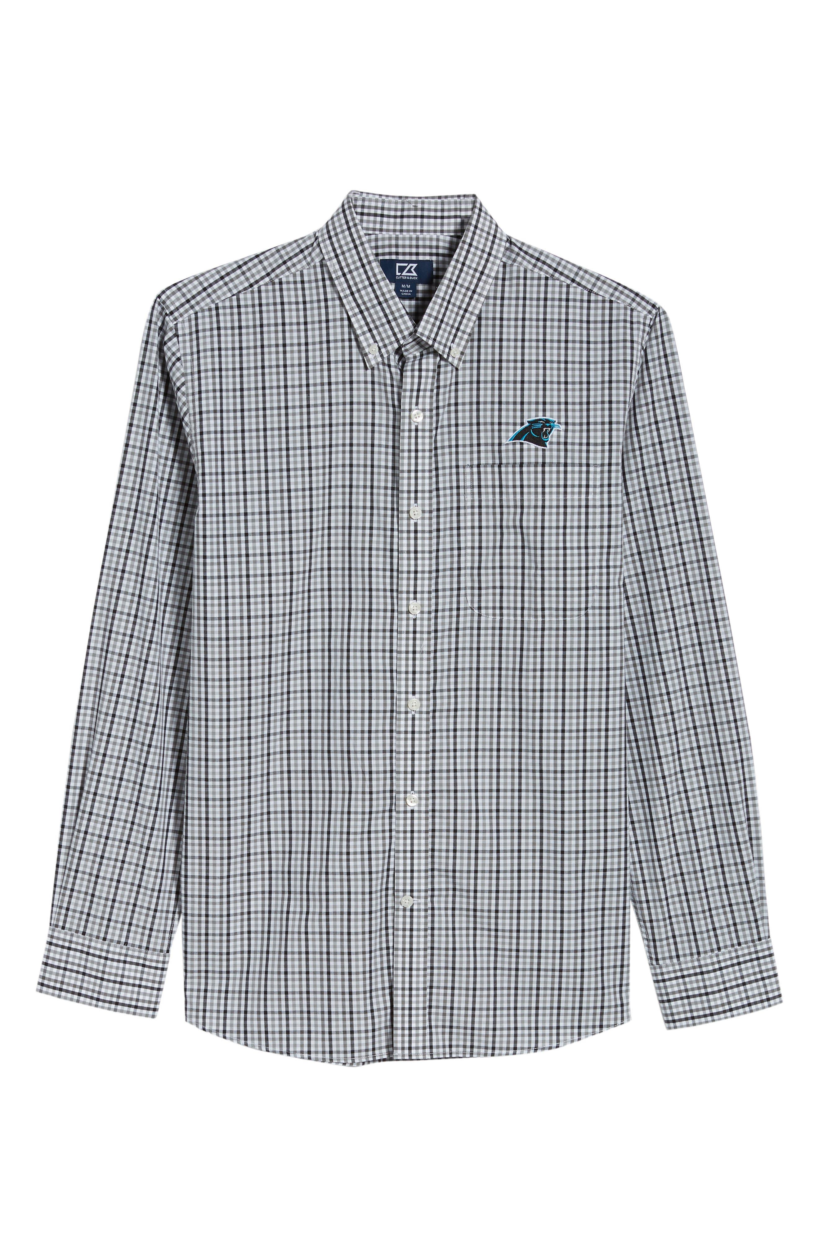 Carolina Panthers - Gilman Regular Fit Plaid Sport Shirt,                             Alternate thumbnail 6, color,                             BLACK