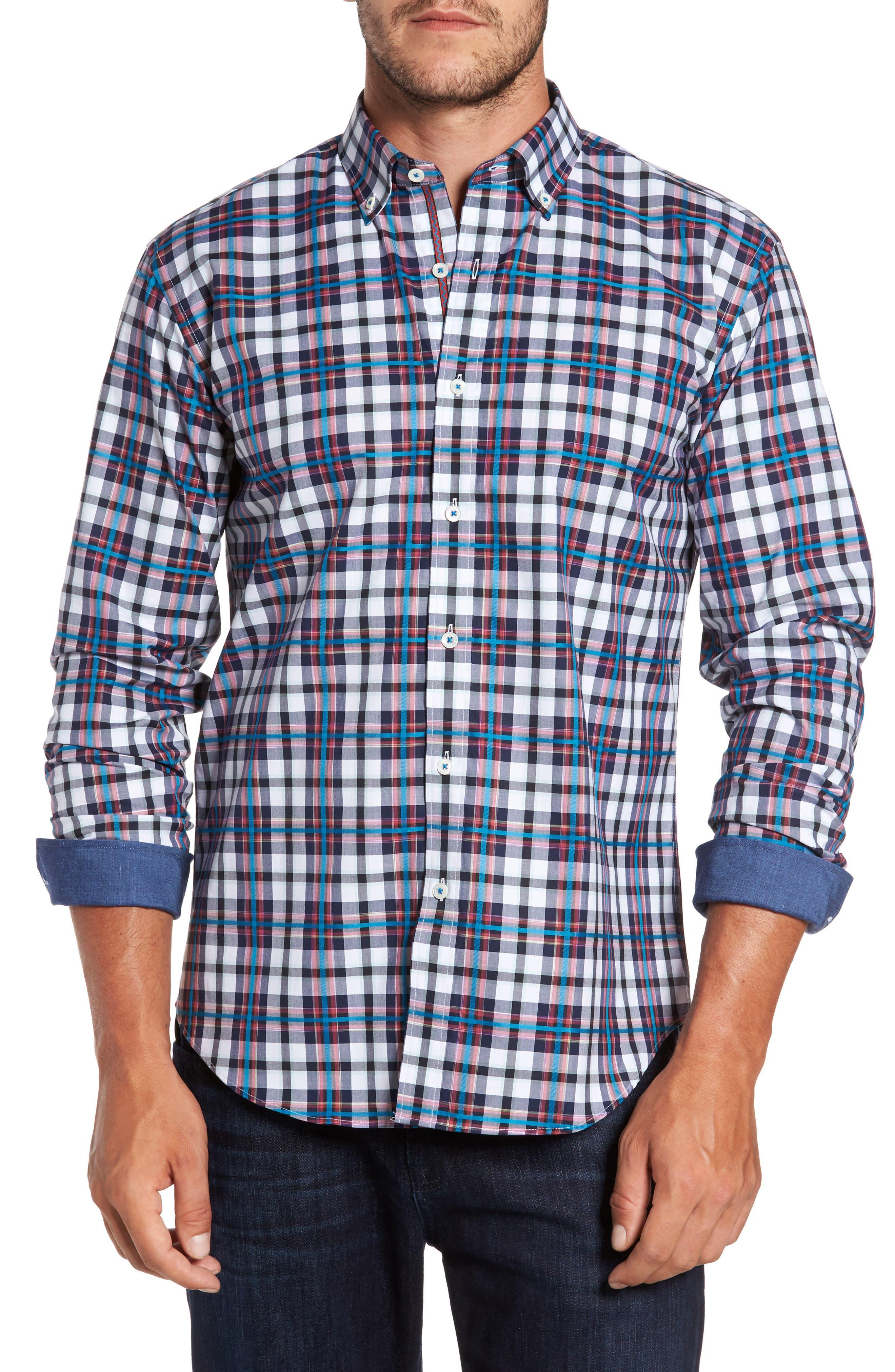 Shaped Fit Plaid Sport Shirt,                             Main thumbnail 1, color,                             411